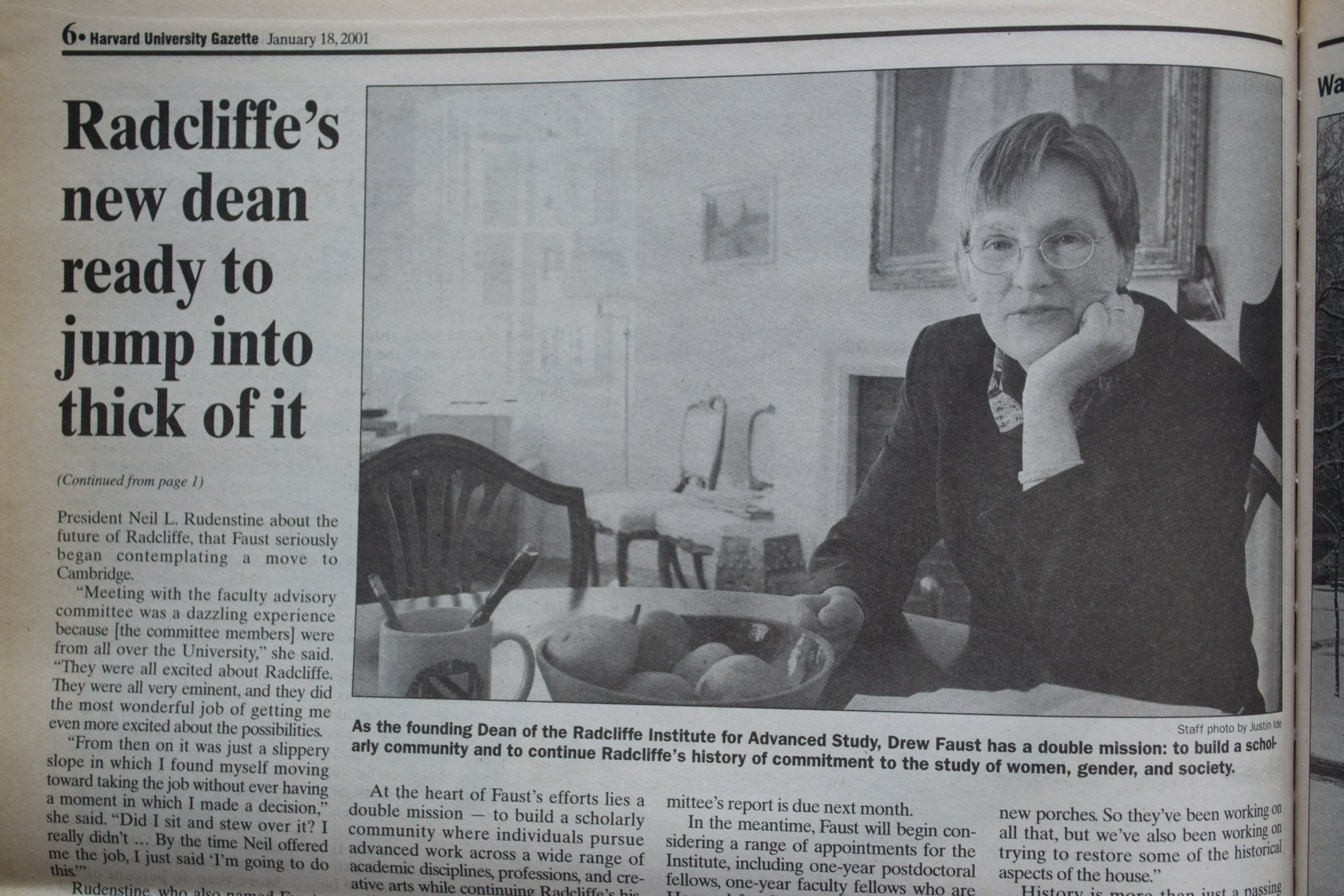 Gazette clipping of feature on Drew Fsust when she took reins at Radcliffe Institute.