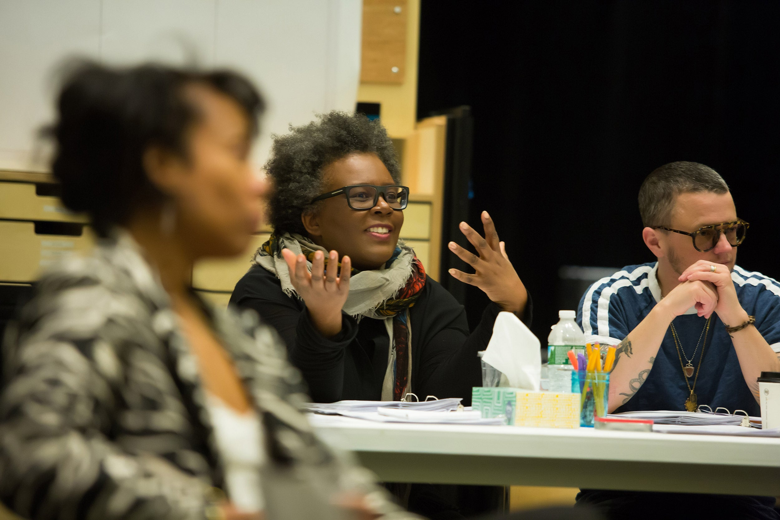 """The premiere of """"The White Card"""" by playwright Claudia Rankine (center) was held in Boston at the Emerson Paramount Center. A collaboration with ArtsEmerson and the American Repertory Theater, it continues through April 1."""