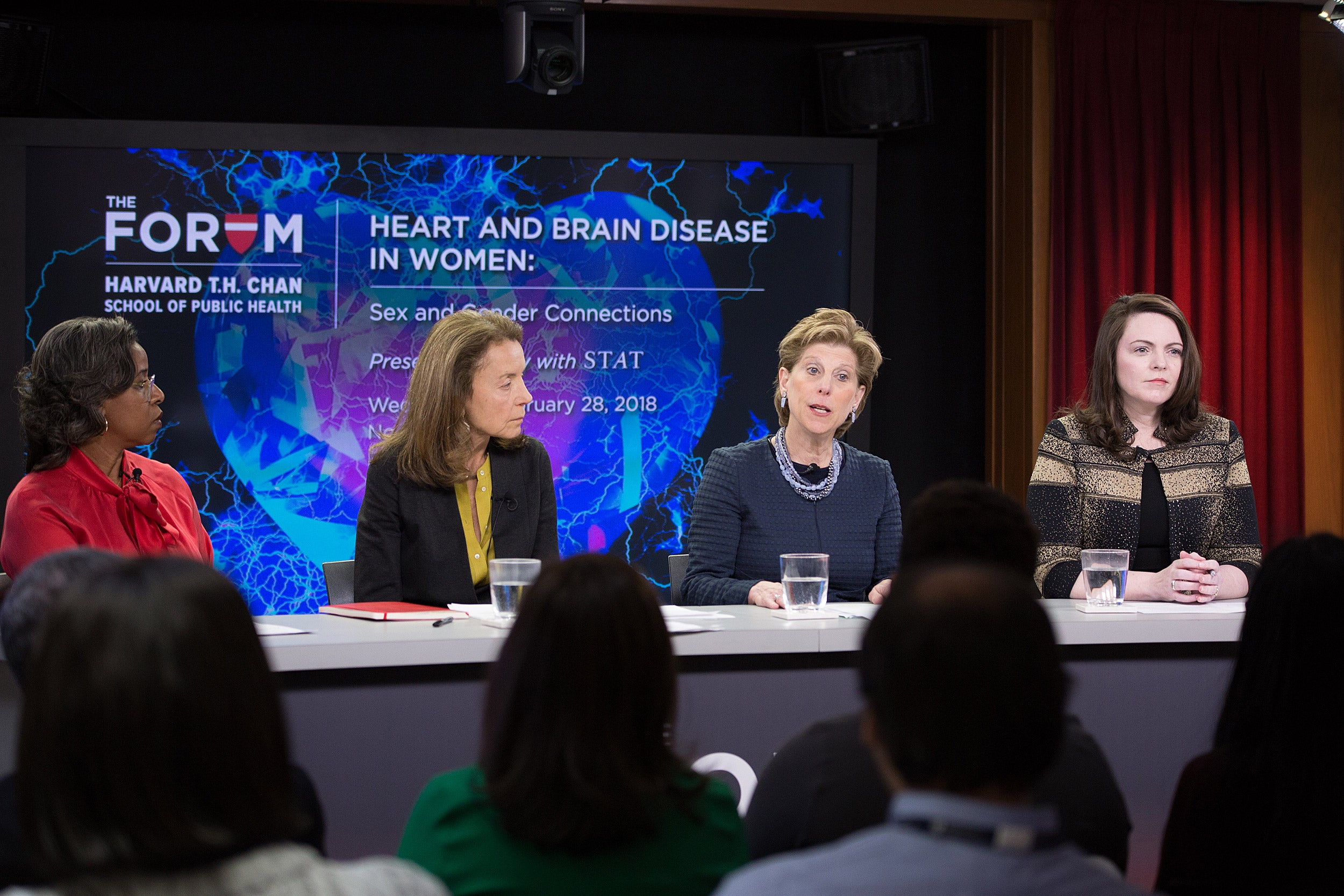 Despite progress in recognizing and incorporating sex-based differences in the health of men and women, work remains, contend panelists British Robinson, Ana Langer, Jill Goldstein, Marjorie Jenkins, with moderator Sharon Begley.