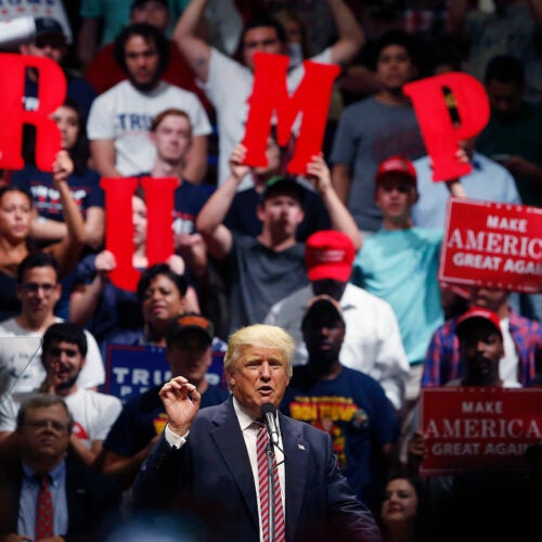 Donald Trump speaks at a campaign rally.