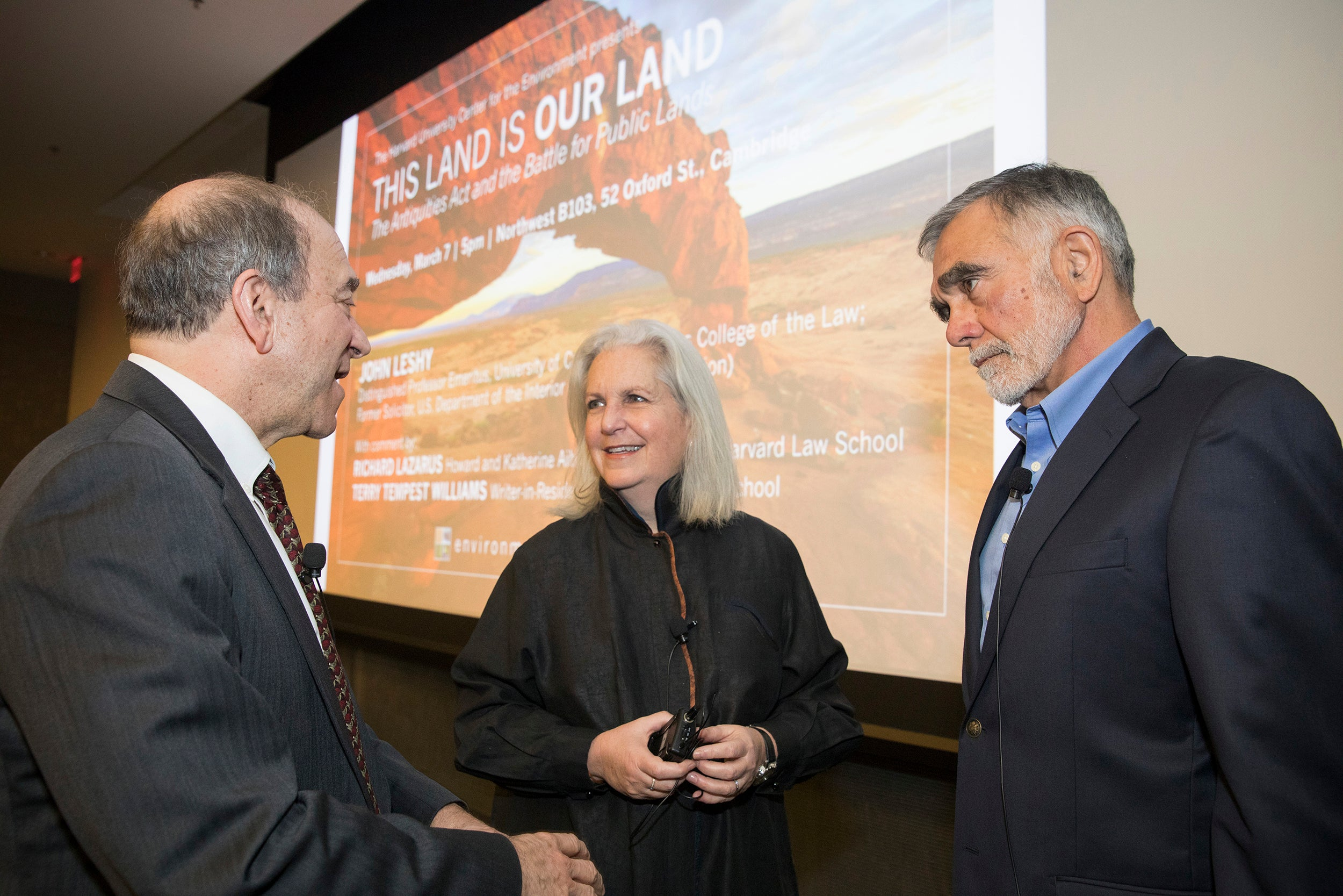 Richard Lazarus, (from left) Howard, Law Prof. HLS, Terry Tempest Williams, Writer-in-Residence, HDS and John Leshy,