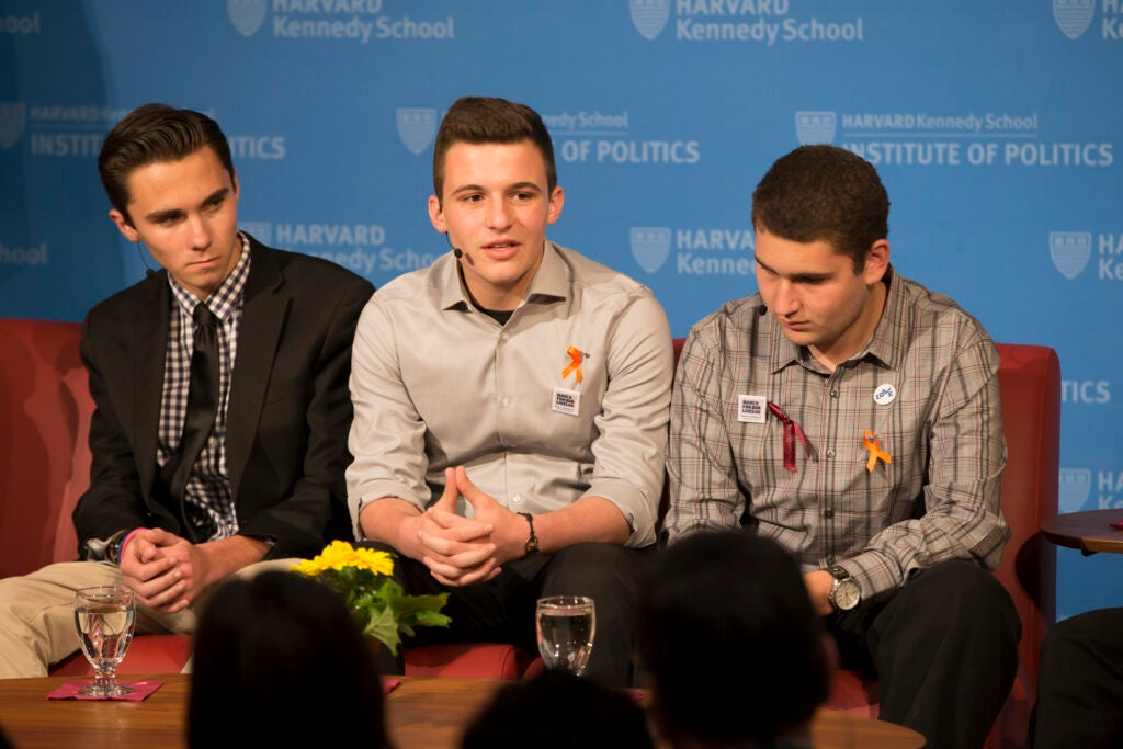 David Hogg (from left), Cameron Kasky, and Alex Wind.