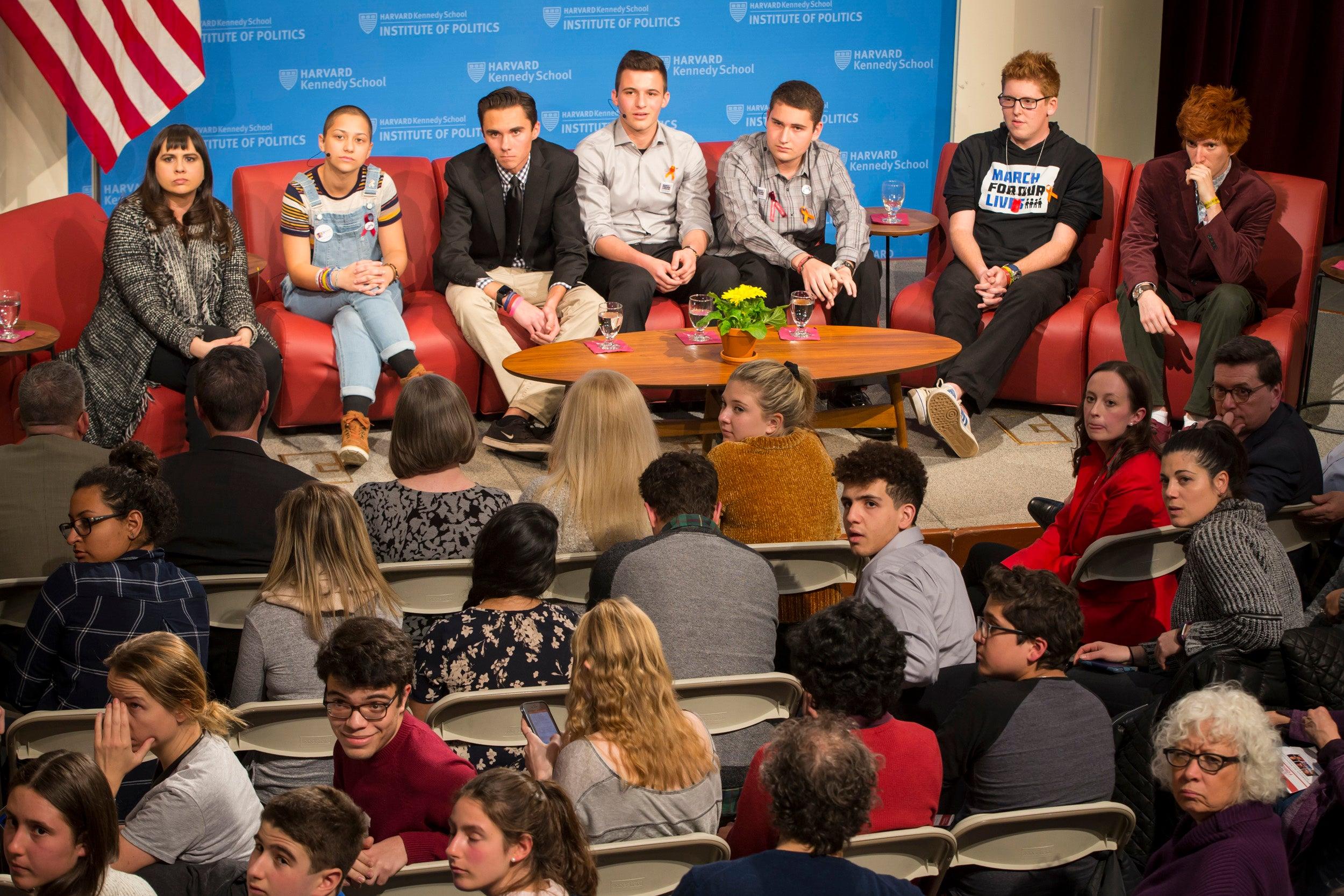 Meighan Stone, Emma Gonzalez, David Hogg, Cameron Kasky, Alex Wind, Matt Deitsch, and Ryan Deitsch.