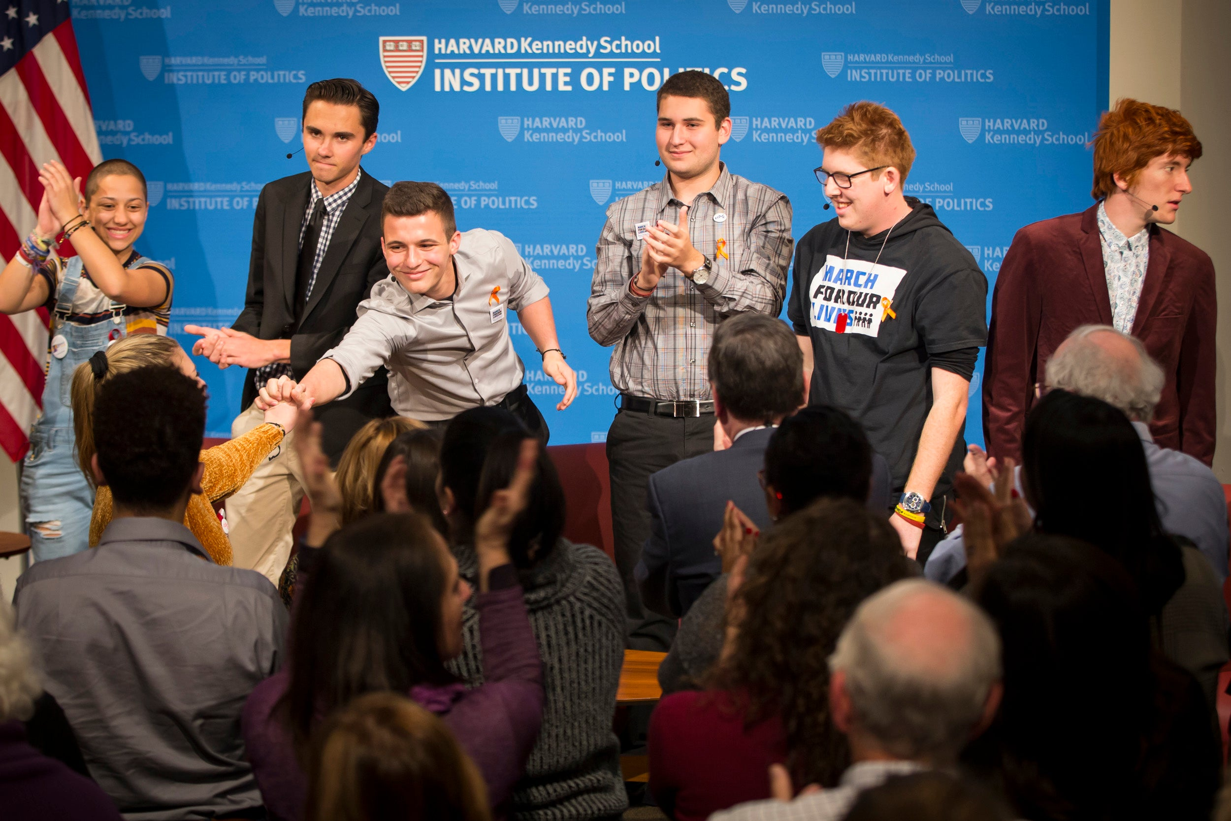 Emma Gonzalez, David Hogg, Cameron Kasky, Alex Wind, Matt Deitsch, and Ryan Deitsch.