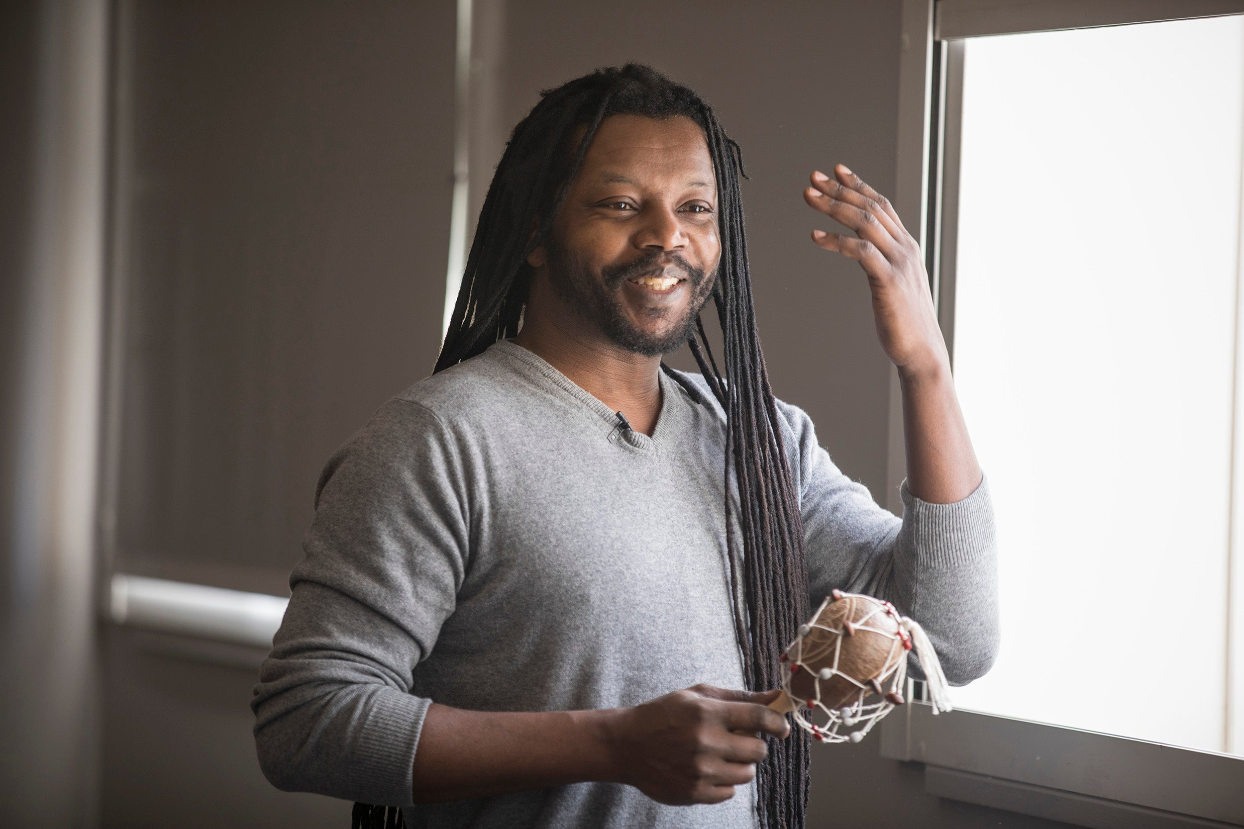 Harvard instructor Sunn m'Cheaux worked with 30 Vassal Lane Upper School seventh-graders, teaching them the origin of the Gullah language as part of Harvard's Project Teach program.