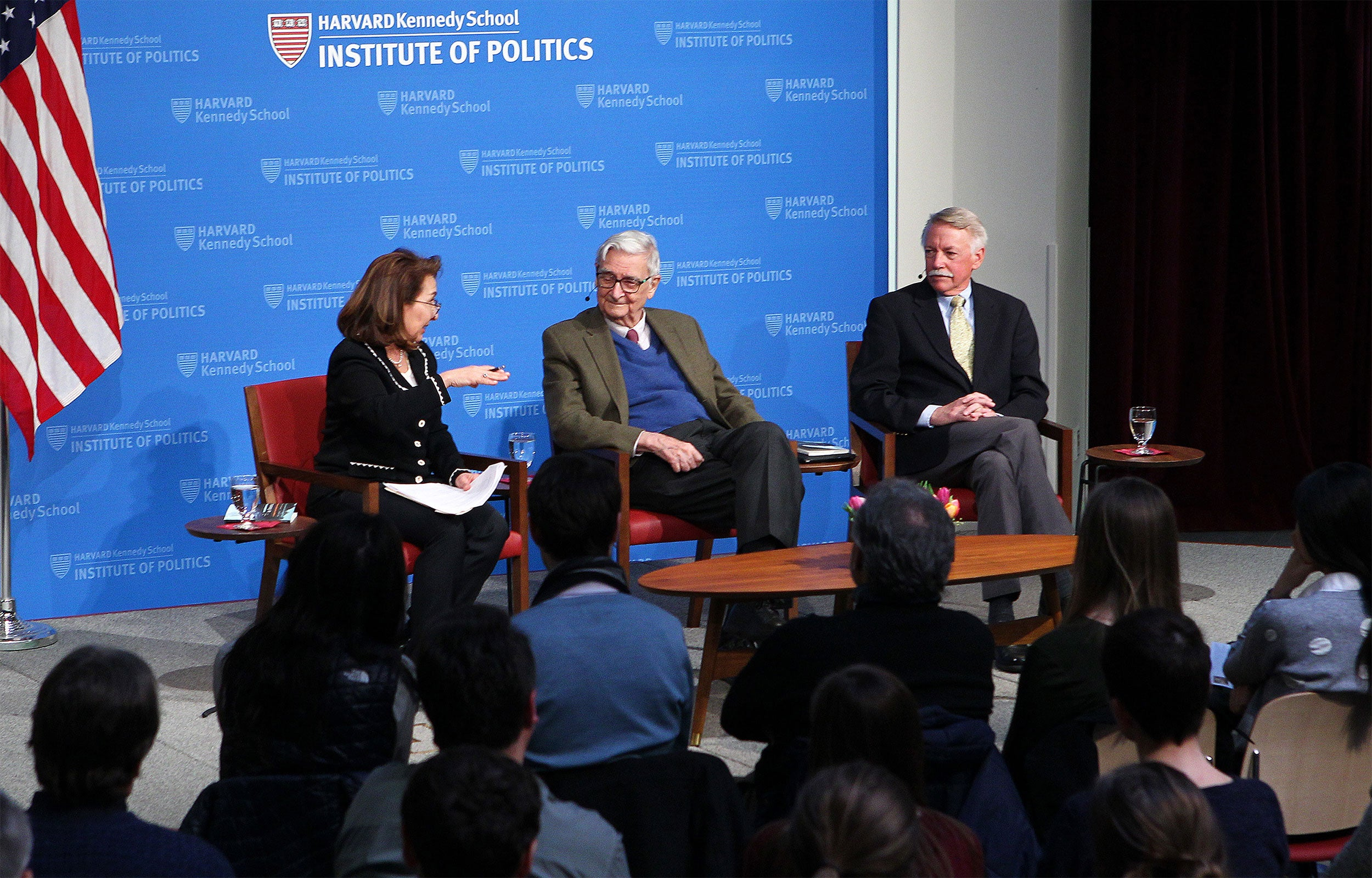 Moderator Linda J. Bilmes (from left) discusses with Edward O. Wilson and Jonathan B. Jarvis about Wilson's proposal to set aside half the Earth's land and oceans for conservation.