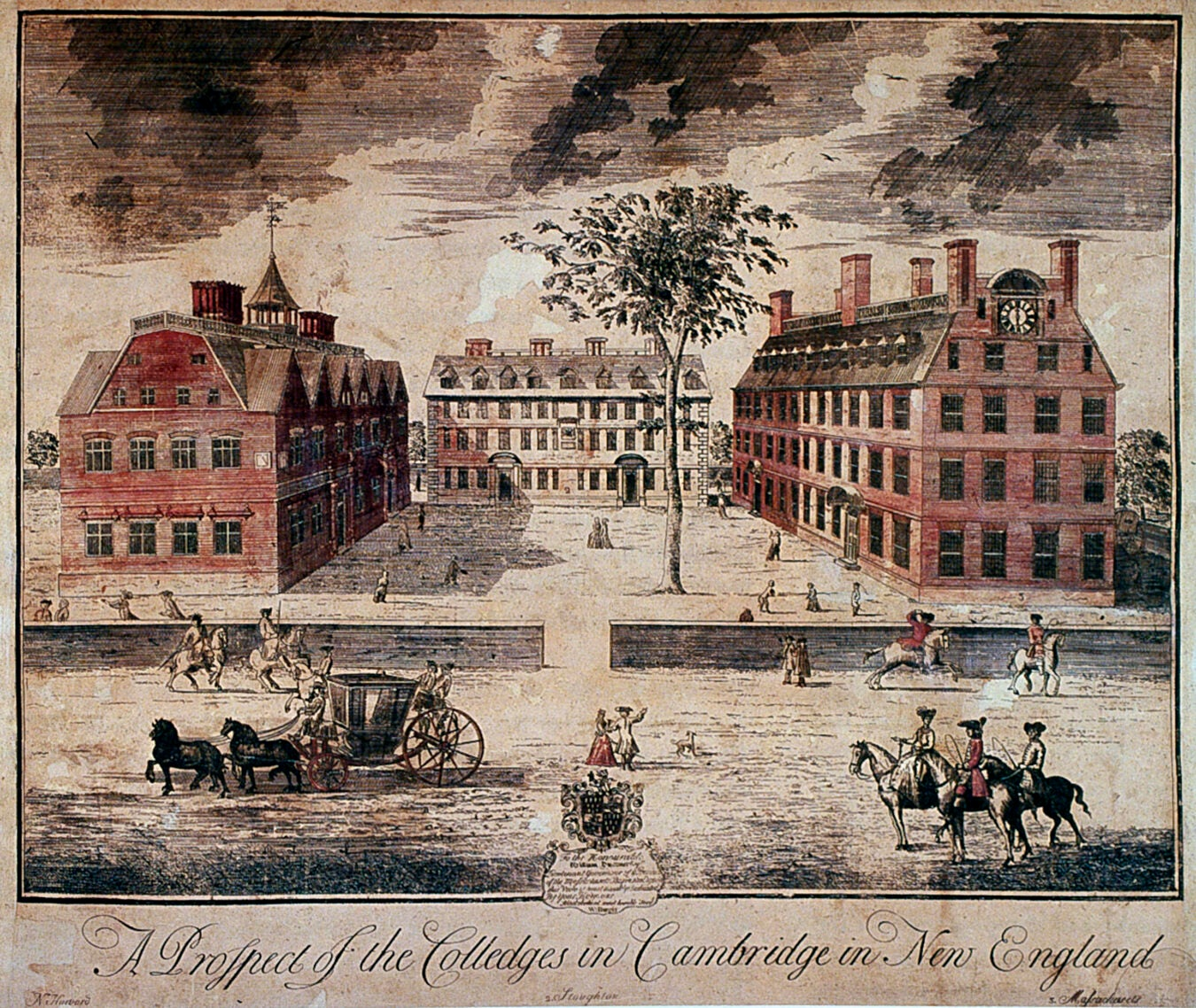 A Prospect of the Colledges in Cambridge in New England, William Burgis, 1726.