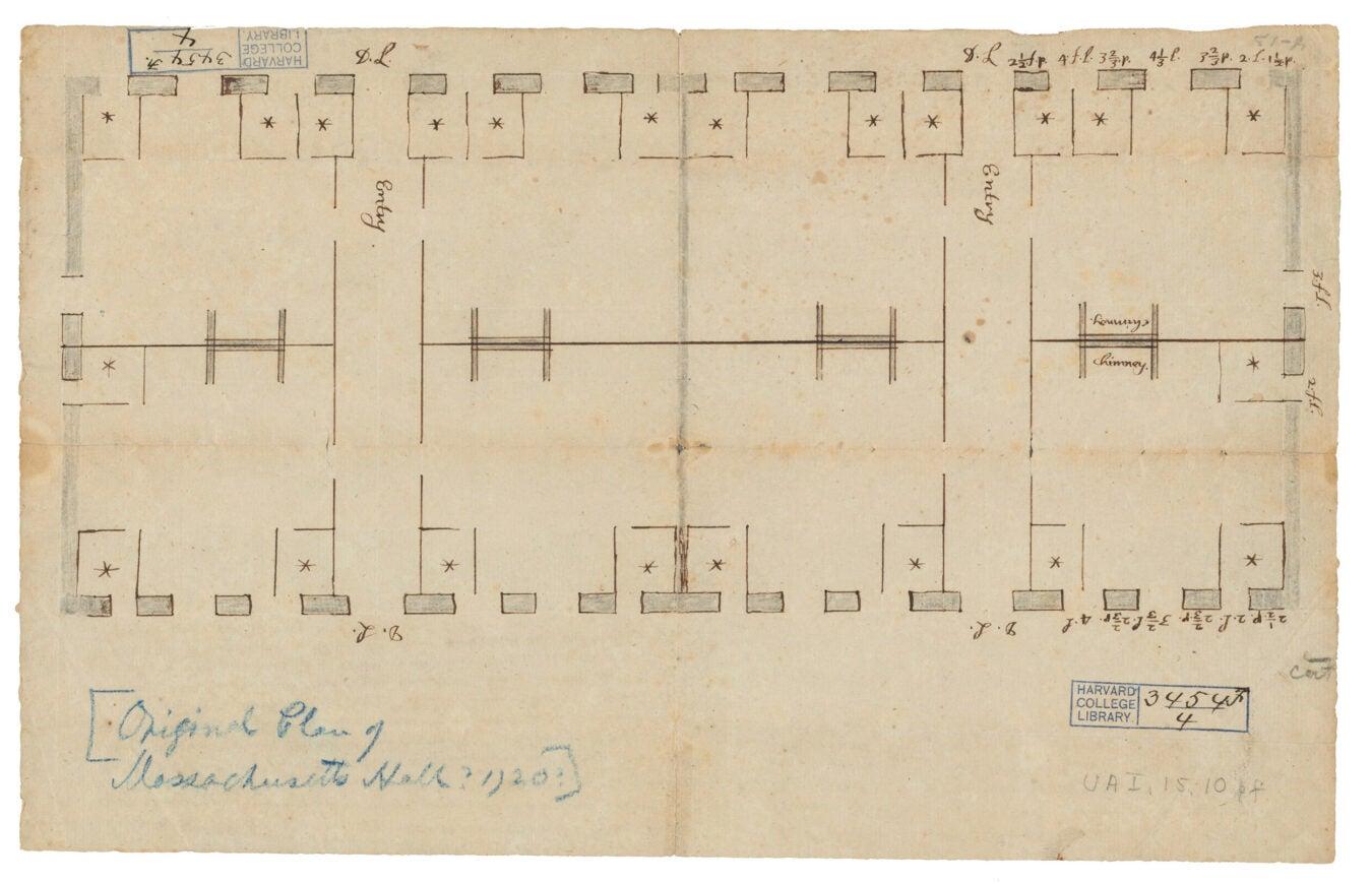1718 blueprint of Mass Hall.