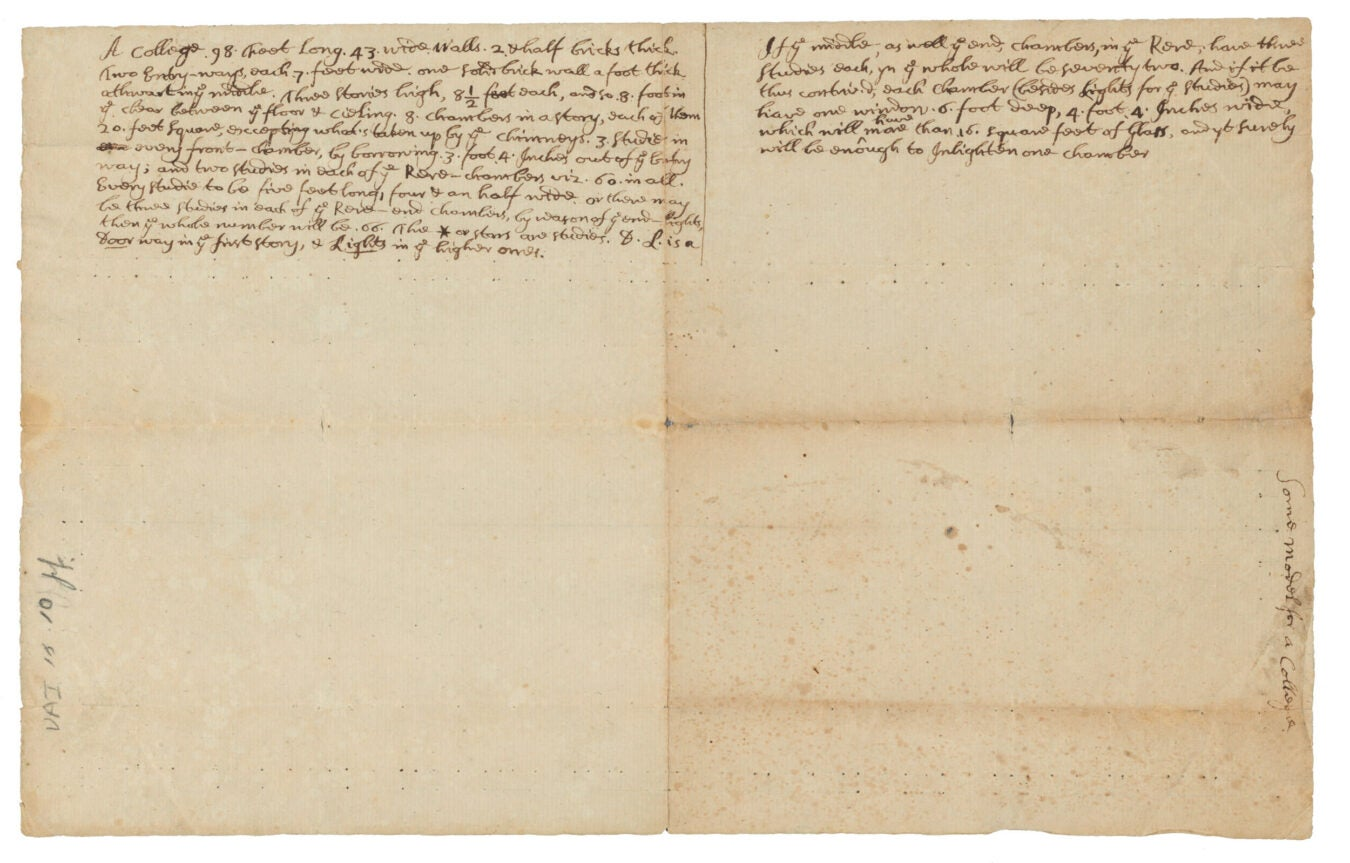 1718 blueprint of Mass Hall, back.