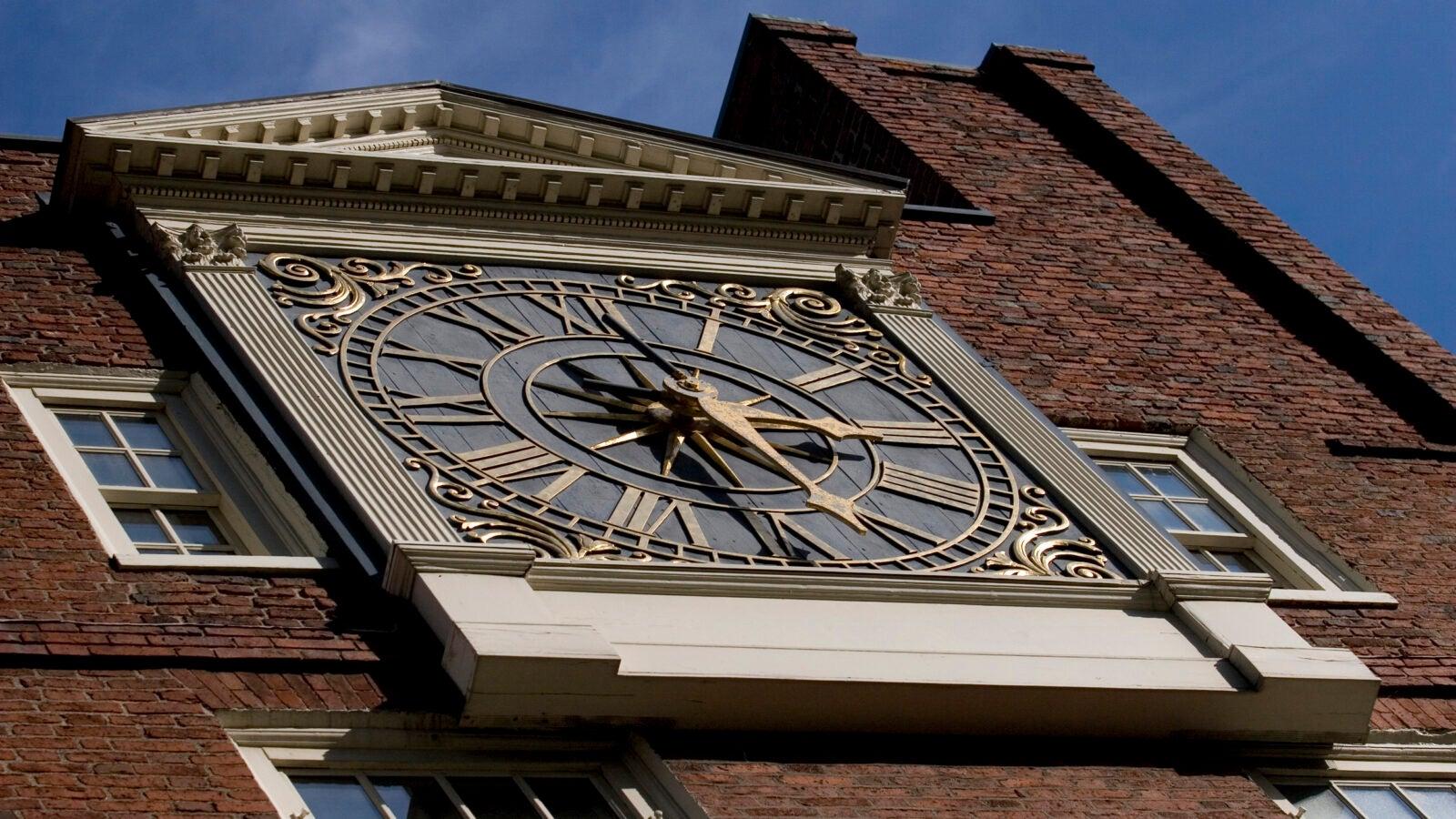 The Massachusetts Hall clock in 2015.