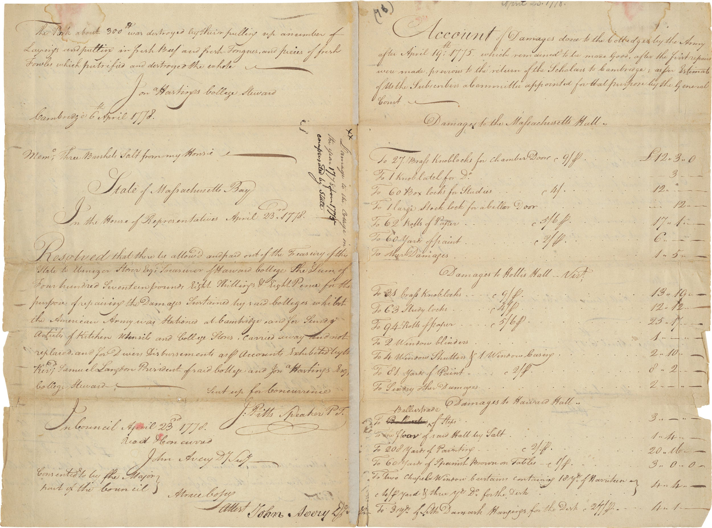 1778 letter accounting damages George Washington's army caused to Mass Hall.