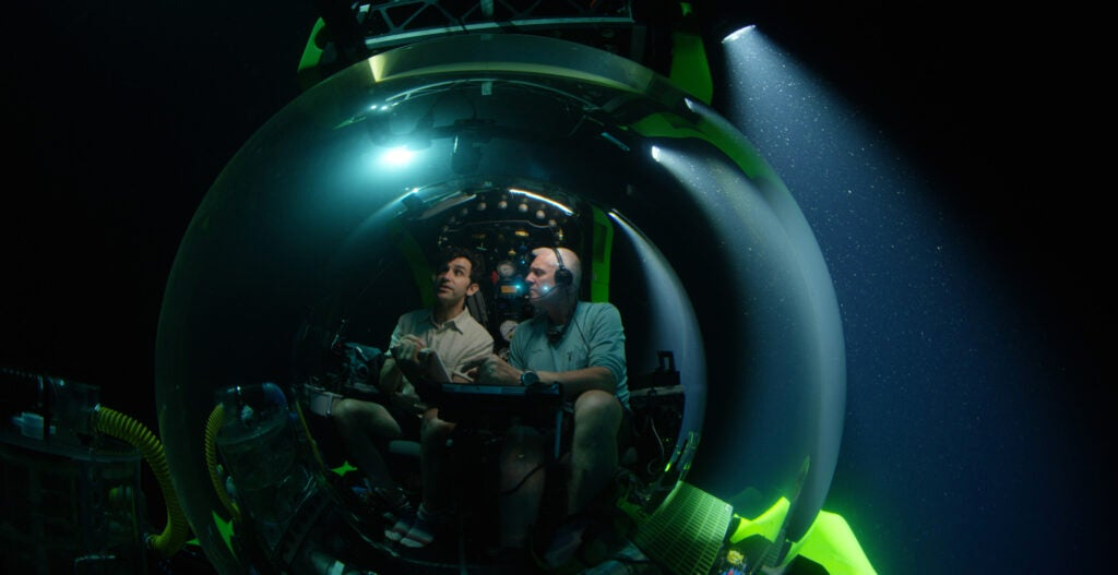 David Gruber in a submarine off Brazil.