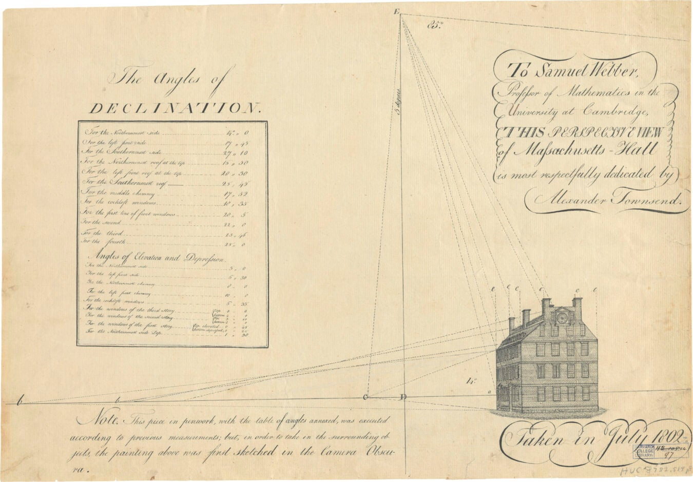 Sketch Mass Hall clock, 1802.