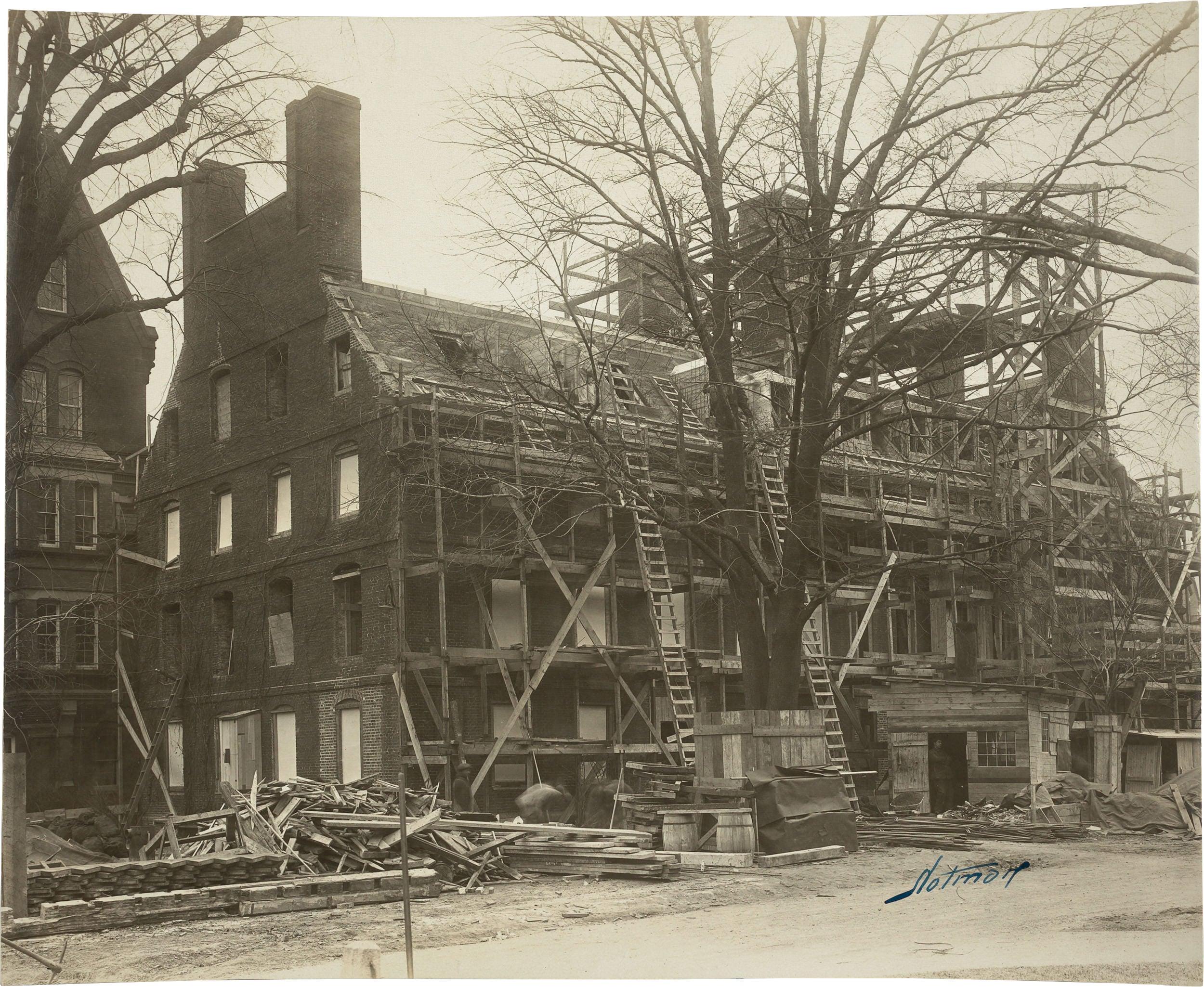 Mass Hall under renovation after 1924 fire.