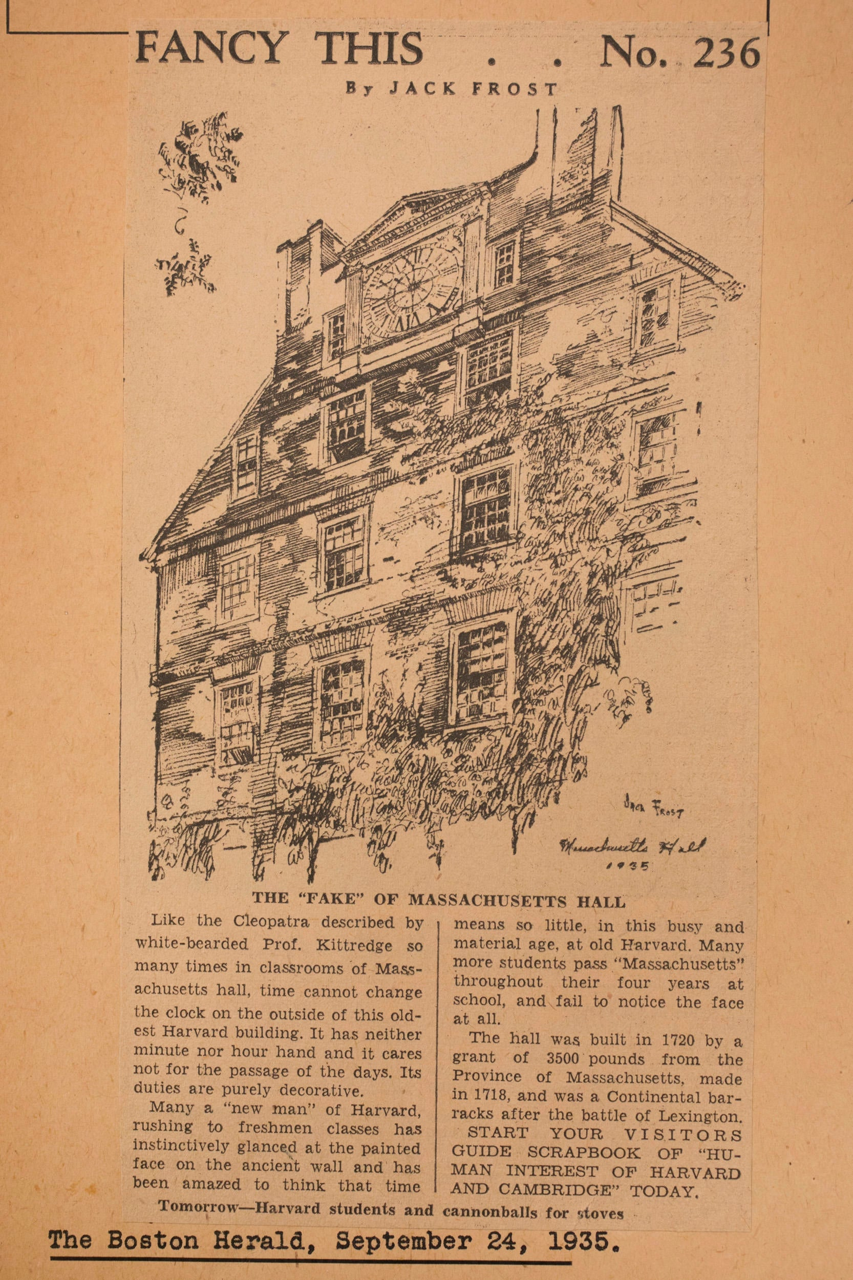 Clipping of a Boston Herald article about the clock on Massachusetts Hall.