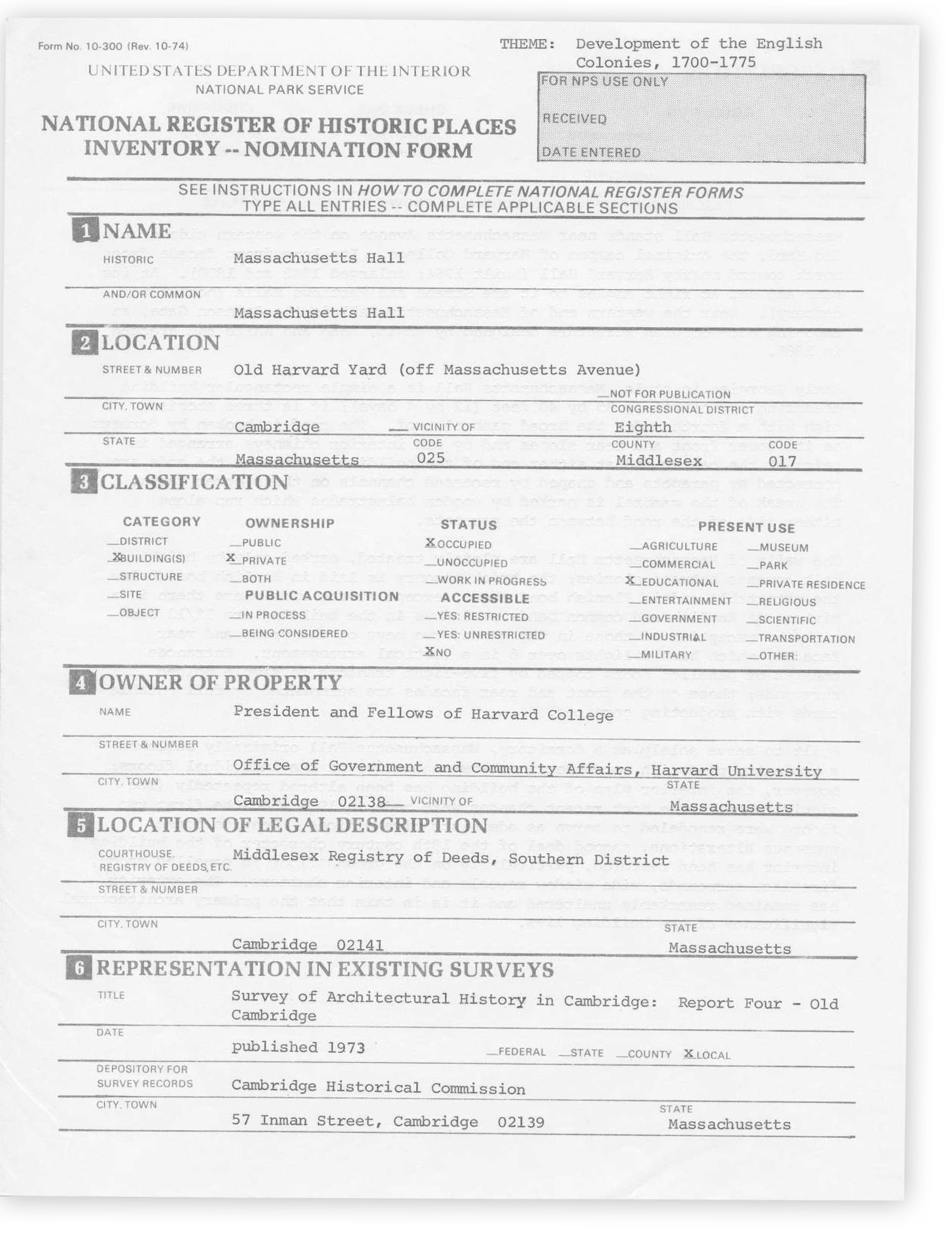 Mass Hall National Historic Landmark nomination form.