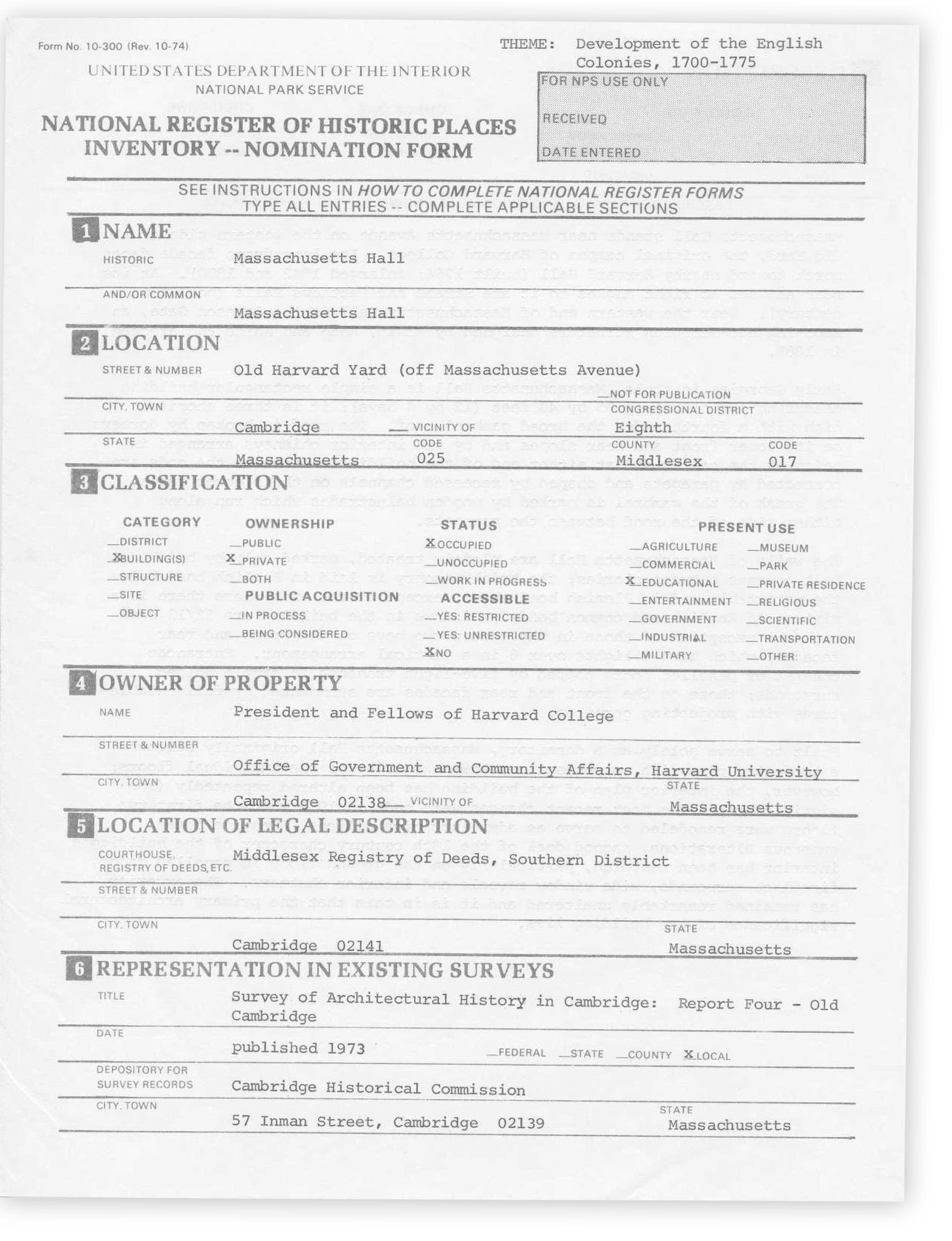 Mass Hall National Historic Landmark nomination form.