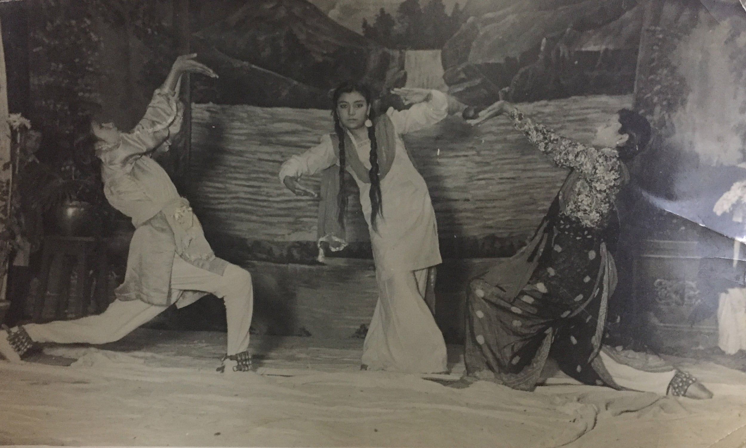 Harvard's Lakshmi Mittal South Asia Institute is examining the ramifications of the violent Partition of British India in 1947. One of SAI's interviewees, Vimla Dhingra (center), offered this photo of her performing in a play before the Partition.