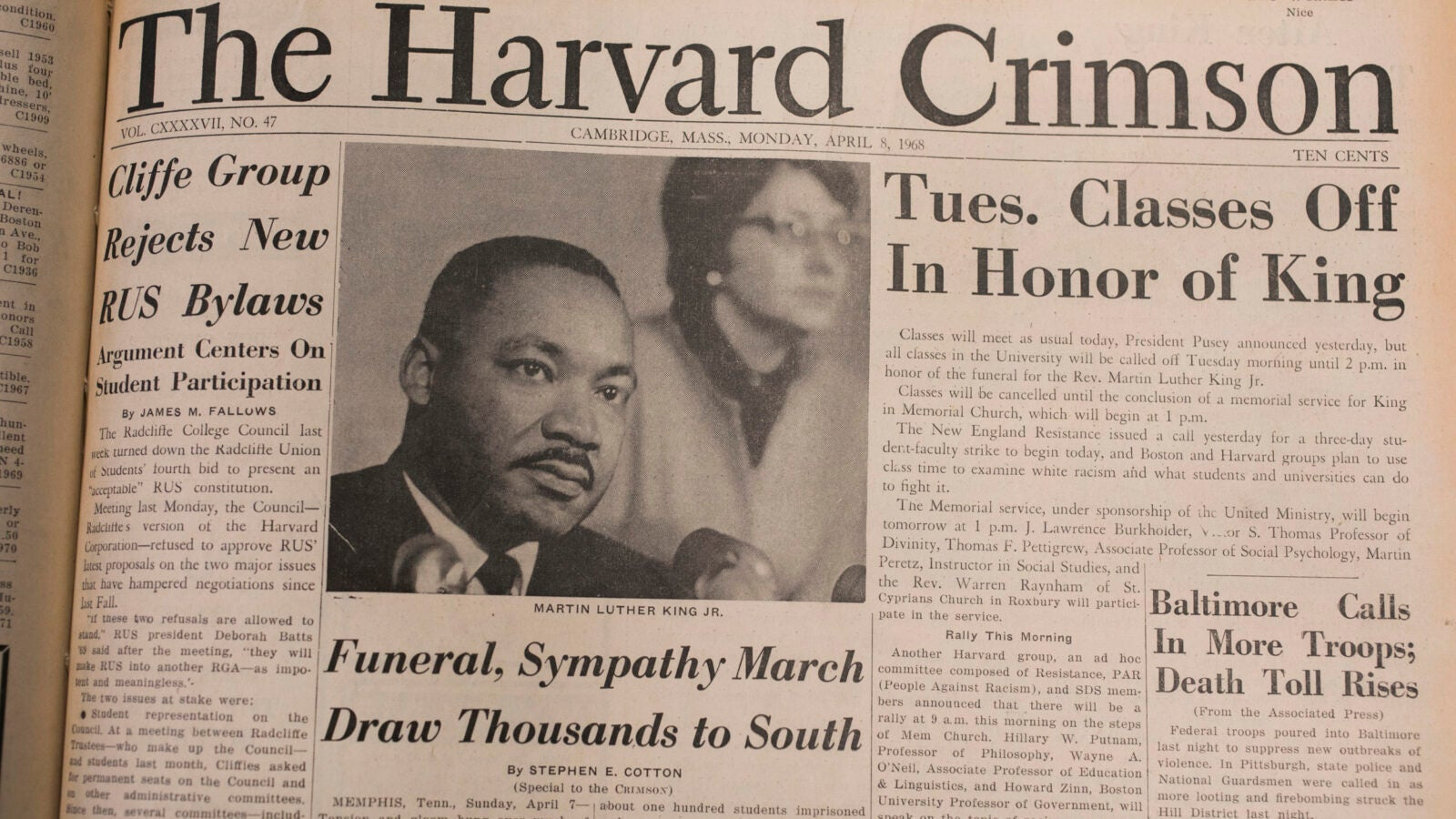 The Harvard Crimson's April 8, 1968, front page.