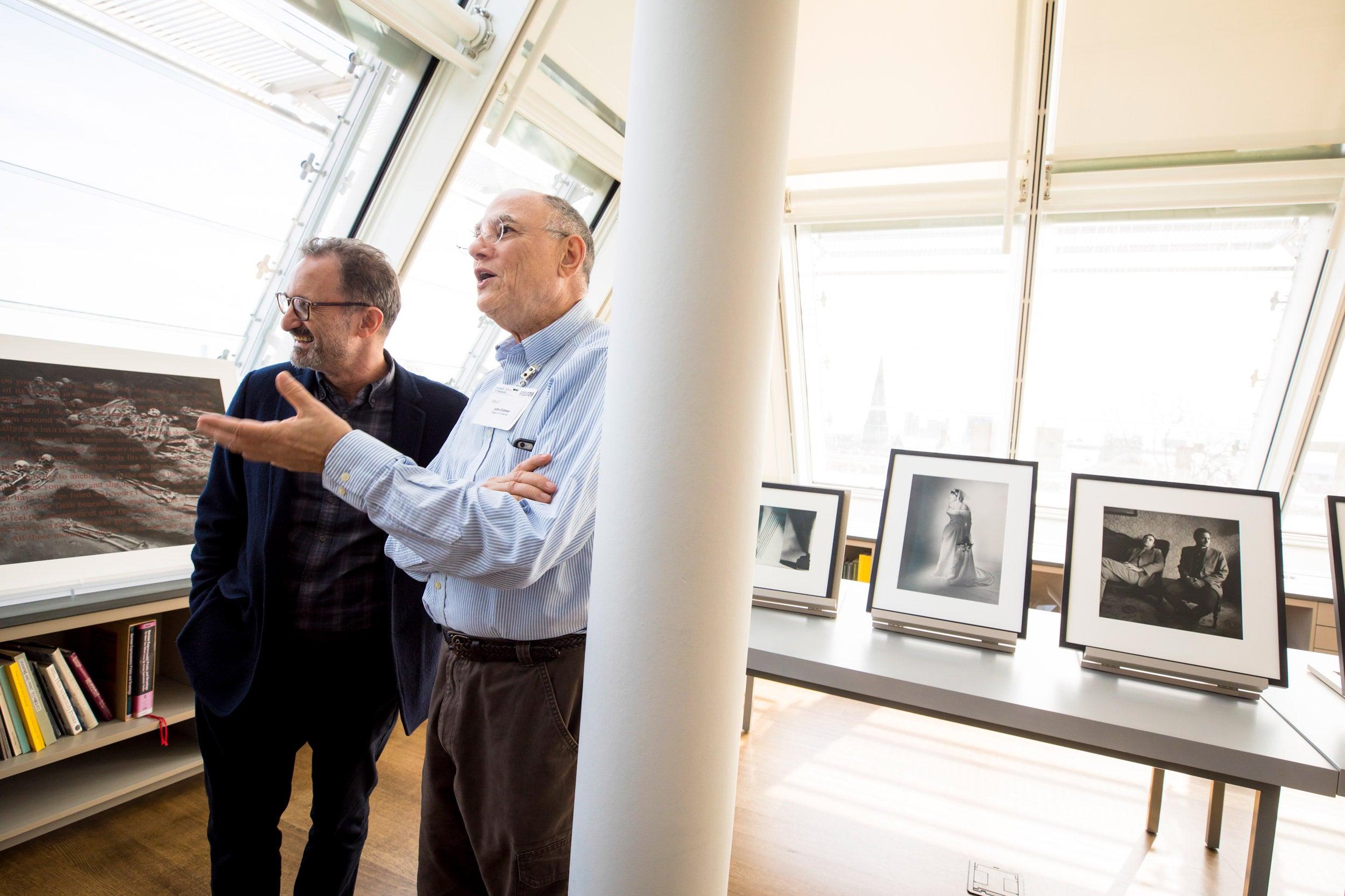 Gary Schneider and John Erdman at Harvard Art Museums exhibit.
