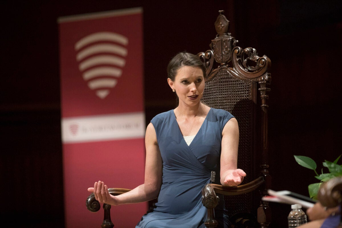 Rachael Denhollander, the first victim to come forward in the Nassar sexual abuse case, speaks to Sanders Theatre about how faith helped her overcome the trauma of her abuse.