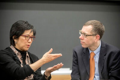 Boston Globe Spotlight team journalists Patricia Wen (left) and Todd Wallack talk about their landmark December 2017 series on Boston's difficult history with race.