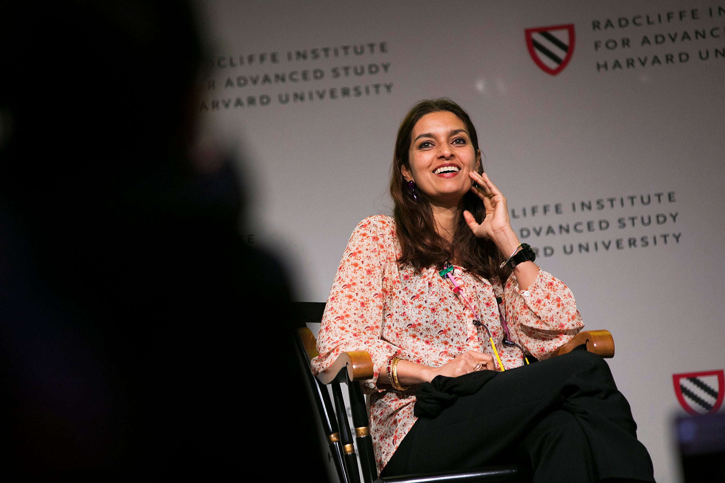 """Jhumpa Lahiri (pictured) and Celeste Ng discuss immigrant identity during the keynote conversation at Radcliffe's annual conference on gender, """"Who Belongs? Global Citizenship and Gender in the 21st Century."""""""