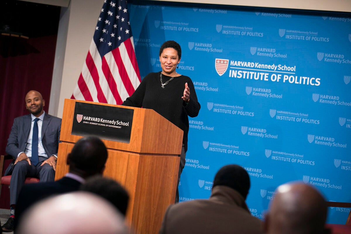 Moderator Peniel E. Joseph (left) looks on as Danielle Allen delivers the keynote address during the Hutchins Center symposium on Martin Luther King Jr., in which she lauded the many seemingly small steps towards justice and equality.