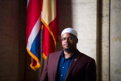 """""""How do you treat people, and how do you advocate for good treatment?"""" Khalil Abdur-Rashid, Harvard's first full-time Muslim chaplain, says he seeks to help students """"understand Islam as a lived experience."""""""