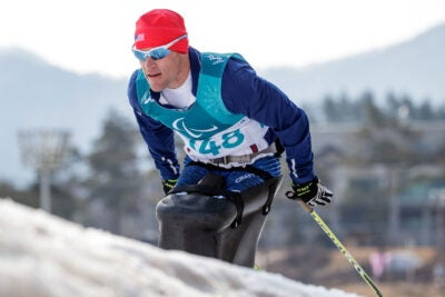 """""""I did draw upon the classes that I have taken at the [Harvard] Divinity School to help get me get in this mental space that I felt like would be ideal for performance, and I think it really worked,"""" said Daniel Cnossen, who won six medals in the 2018 Winter Paralympic Games in South Korea."""