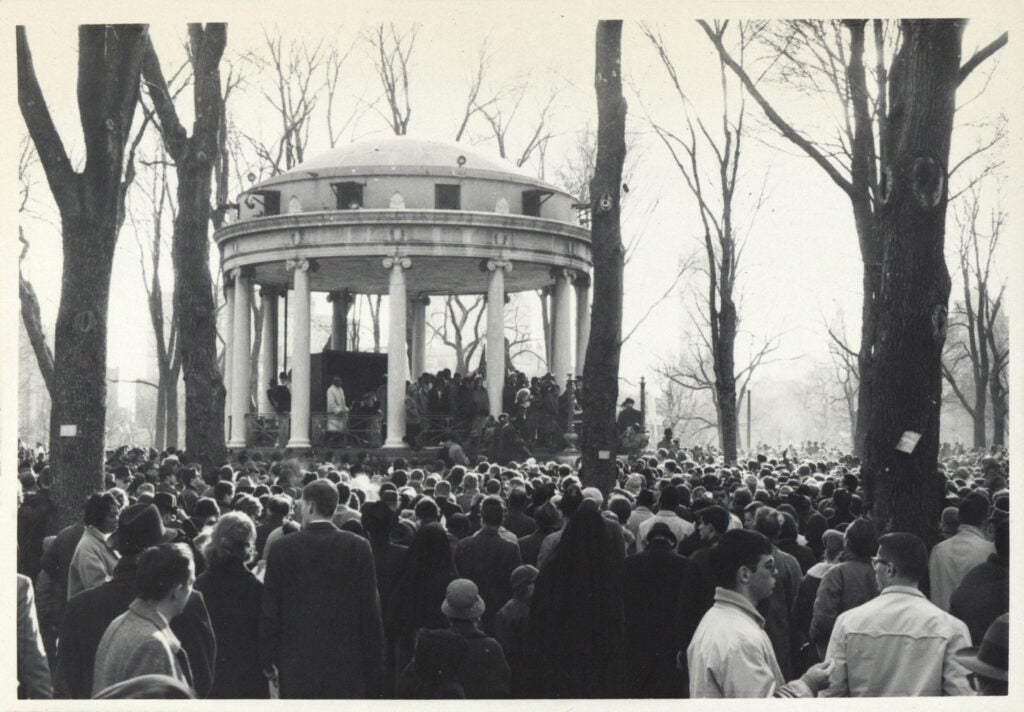 Civil rights protesters gather around the gazebo in Boston Common in 1965.