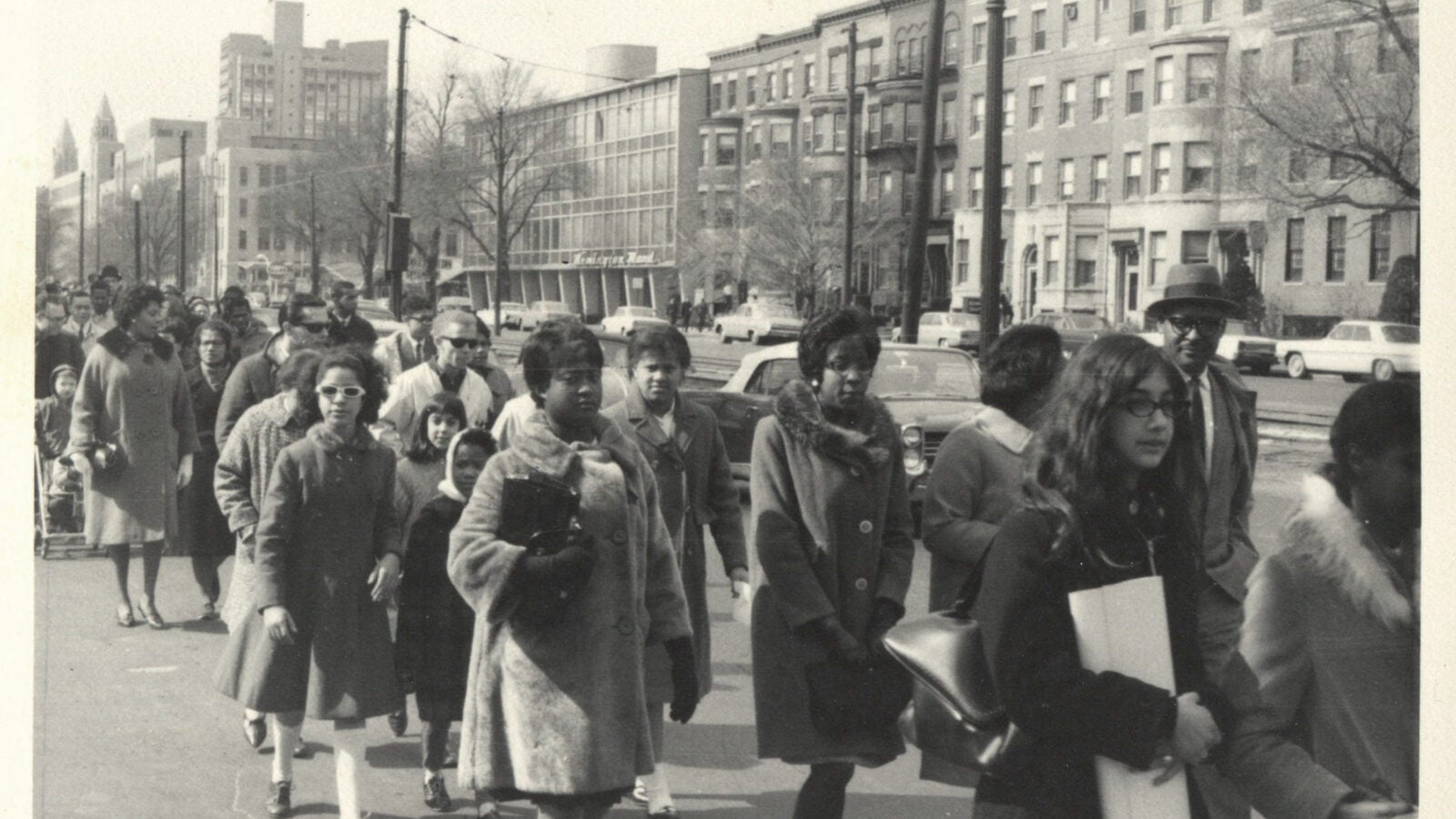 Civil rights march led by MLK from Roxbury to Boston Common, April 1965.