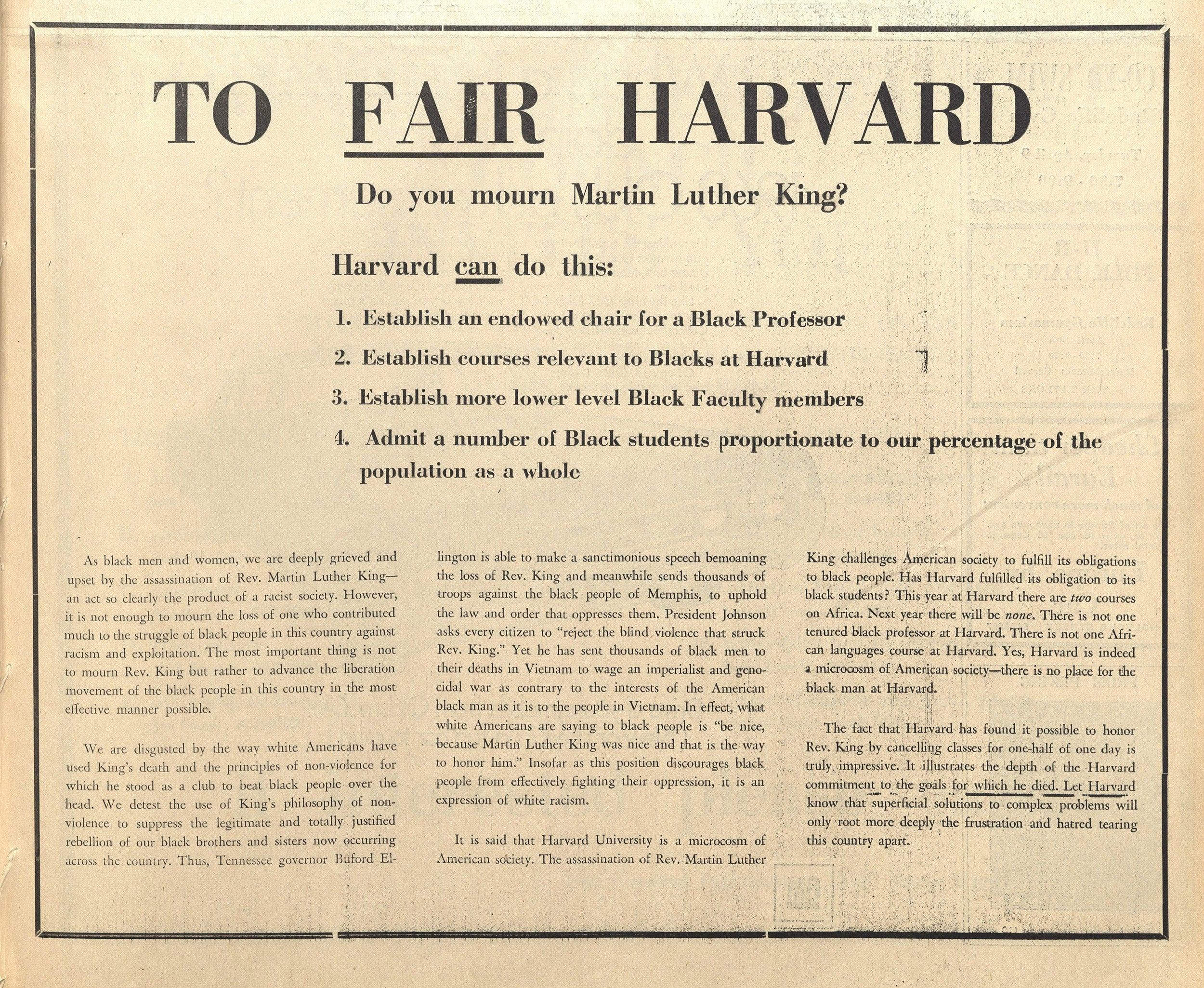Ad with demands from African-American students in April 10, 1968, Harvard Crimson.