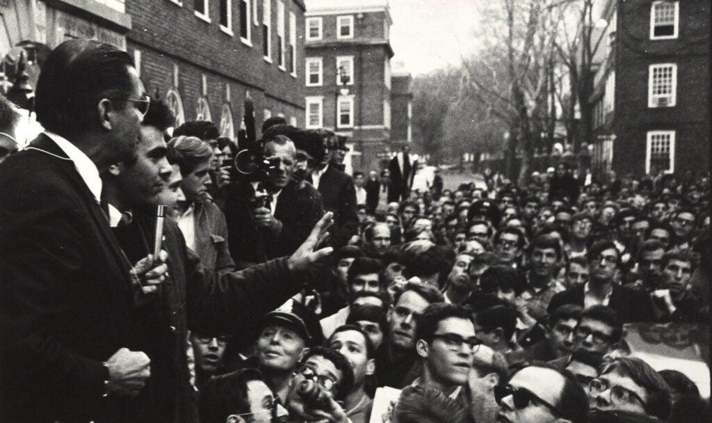 Harvard students protest Defense Secretary Robert McNamara's visit Nov. 7, 1968.