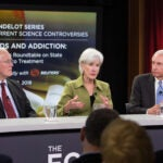 Former Governors Jim Douglas of Vermont, Kathleen Sebelius of Kansas, and Steven Beshear of Kentucky traded ideas for fighting the U.S. opioid epidemic during a Harvard forum.