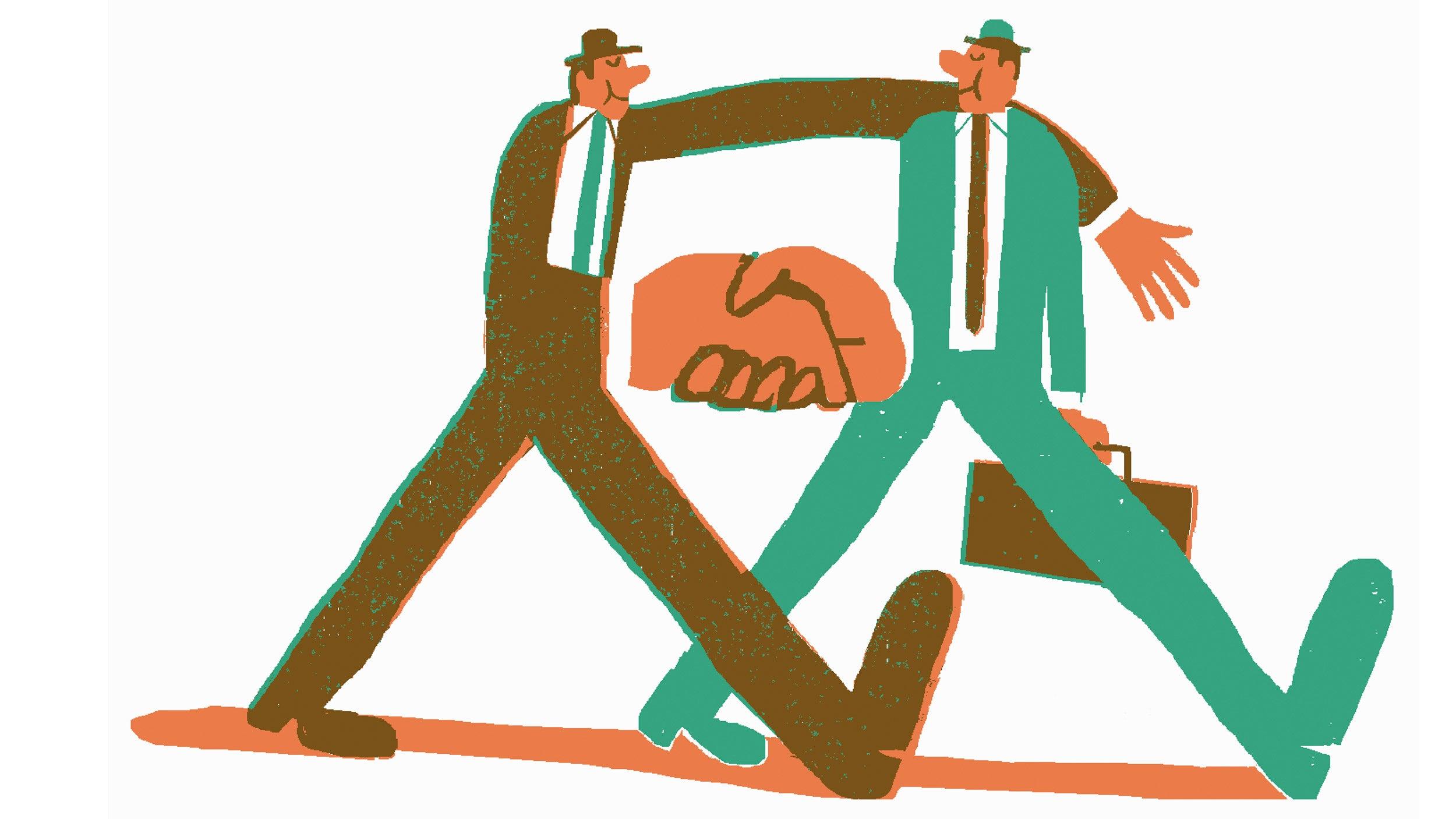Illustration of businessmen shaking hands