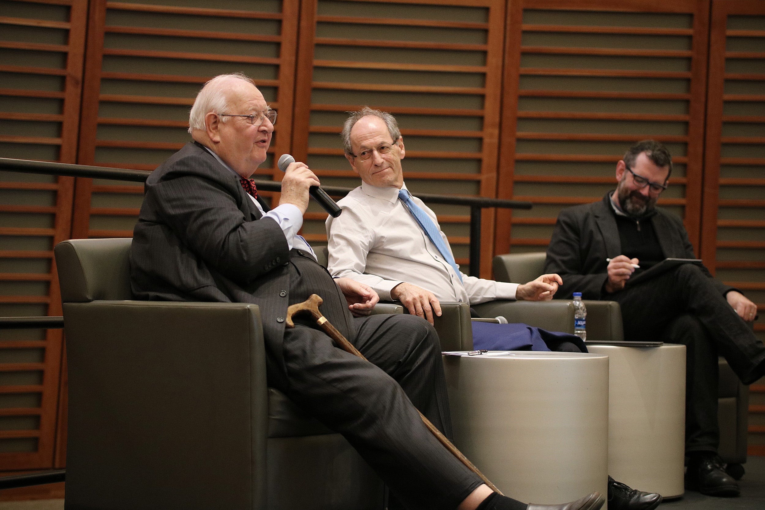 Angus Deaton (from left), epidemiologist Michael Marmot, and Professor Jason Beckfield