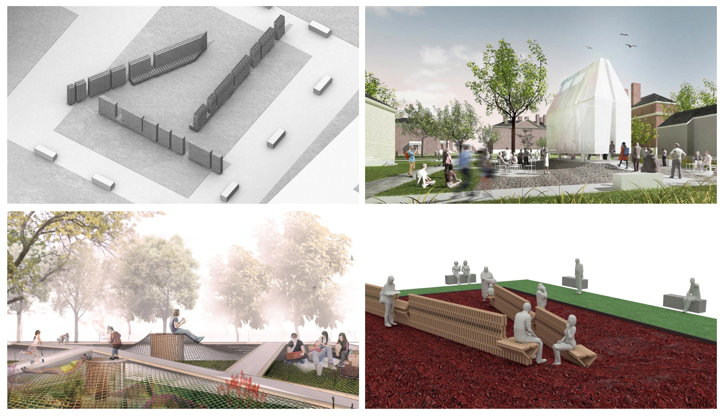 Renderings of the four finalists' designs in Radcliffe student public art contest.