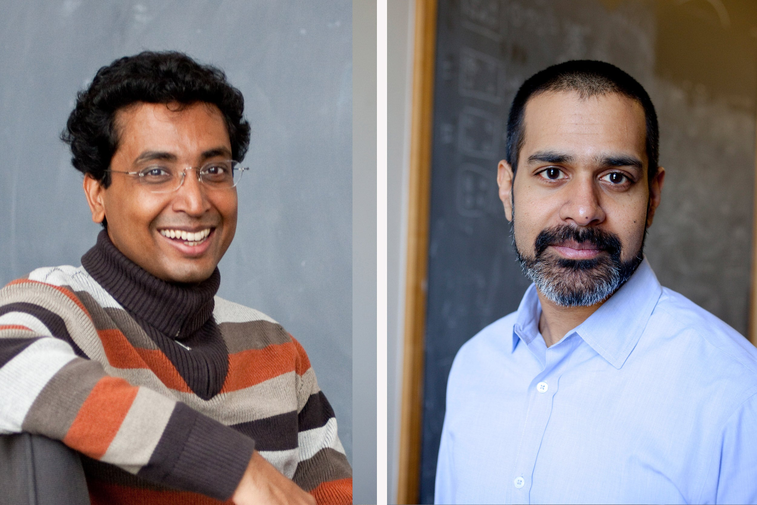 To increase scientific understanding of biological systems, Harvard is launching an interdisciplinary research effort called the Quantitative Biology Initiative to be headed by Sharad Ramanathan (left) and Vinothan Manoharan, with support from University President Drew Faust and Dean Michael D. Smith.