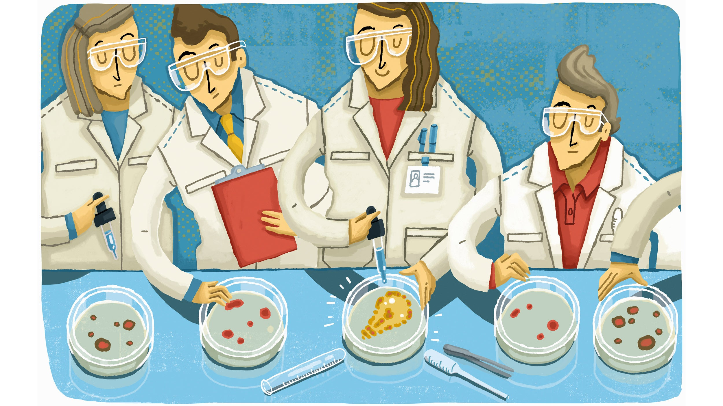 Illustration of Scientist standing out with successful science experiment.