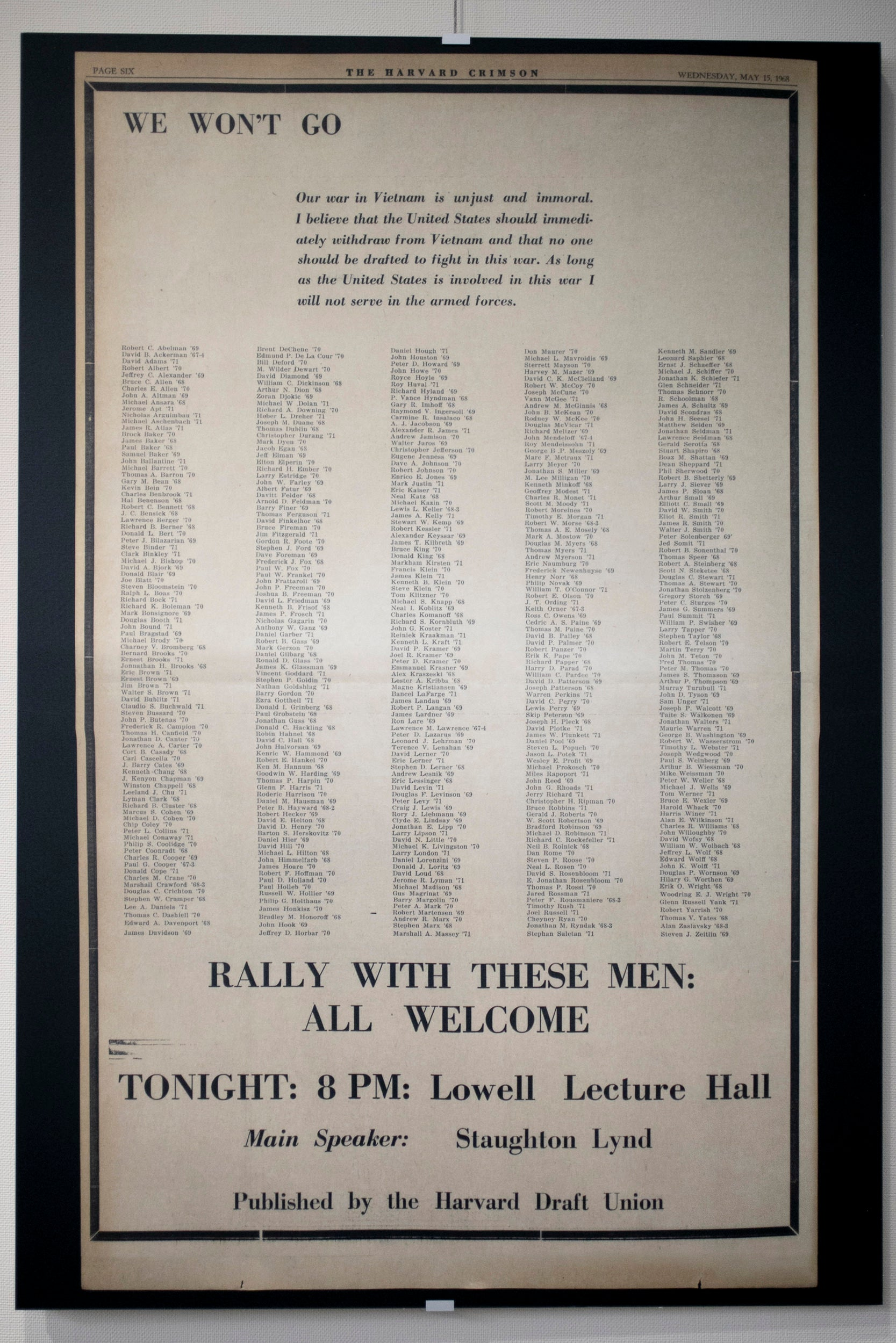 List of Harvard draft protesters in 1968.