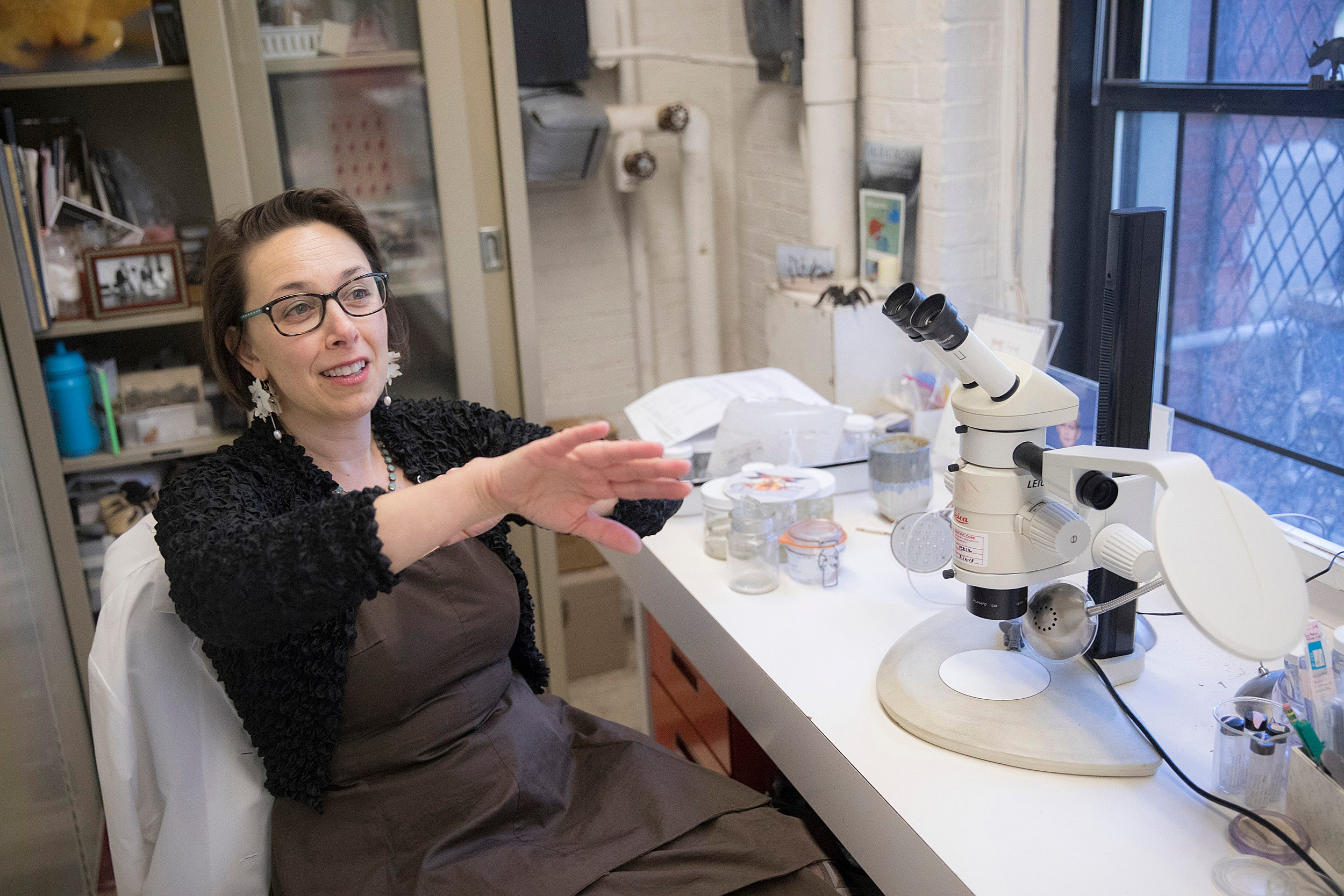 Sarah Kariko is the lead author of a new study that examines how a red, jewel-like spider gets its color and why it doesn't fade when preserved in ethanol.