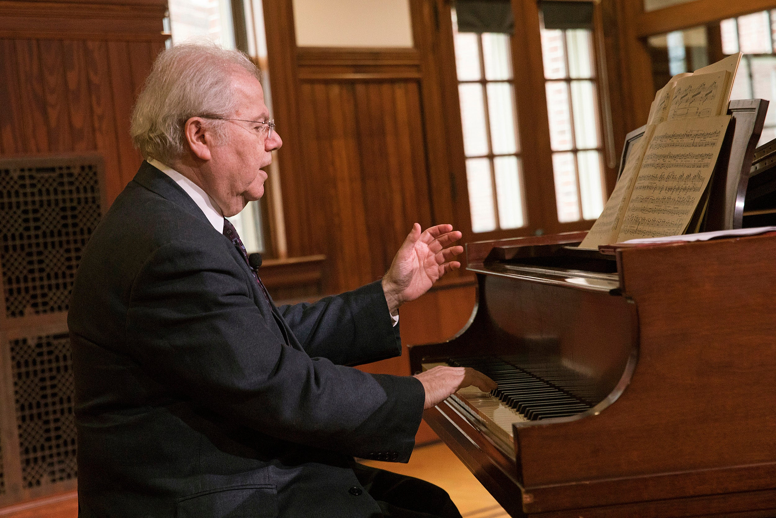 """""""As nervous as I am about playing the B-flat this week in Boston, I am much more nervous now,"""" pianist Emanuel Ax told his audience at the Knafel Center."""