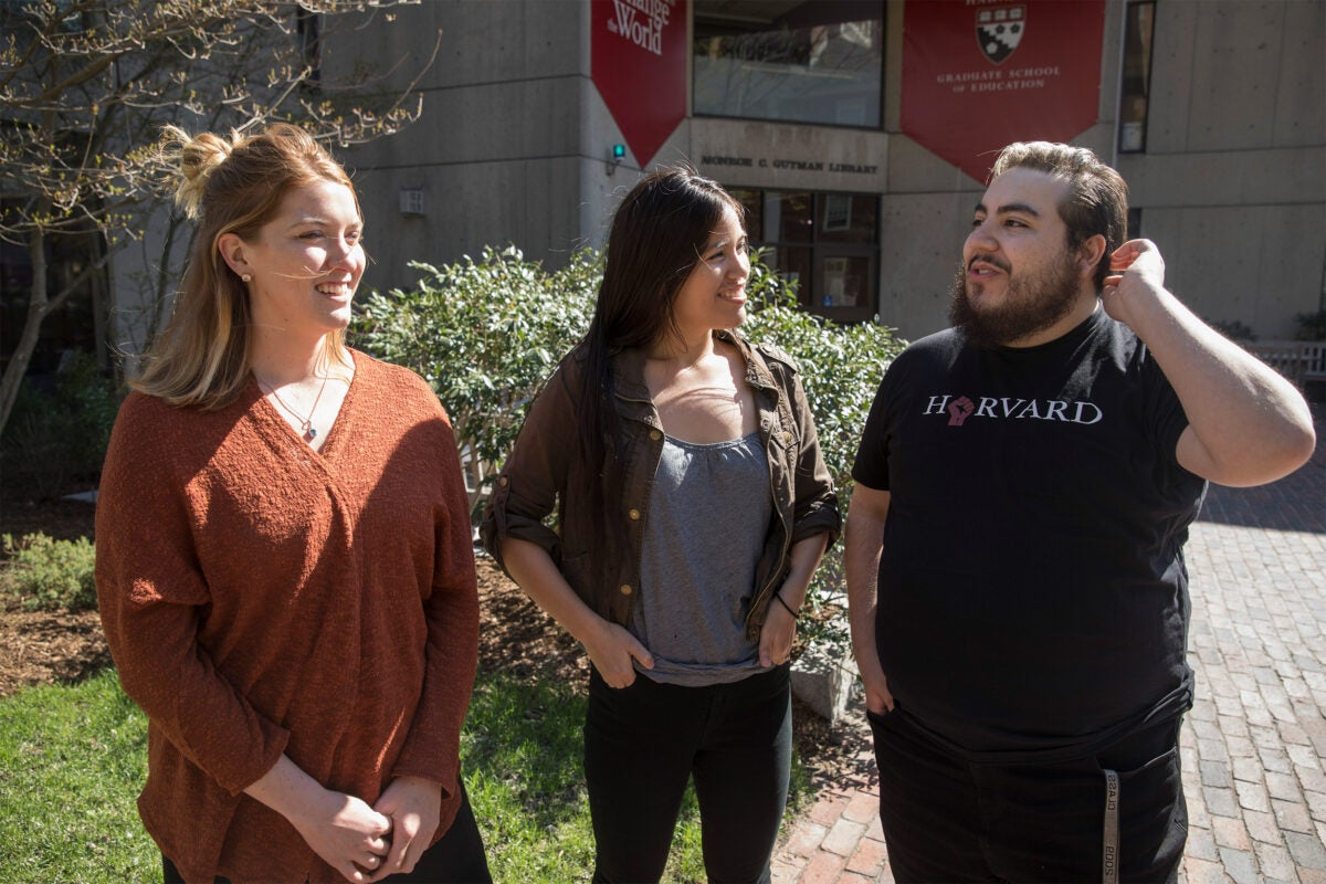 HGSE students, Julia Cunningham, (from left) Morgan Barraza, and Shane Trujillo
