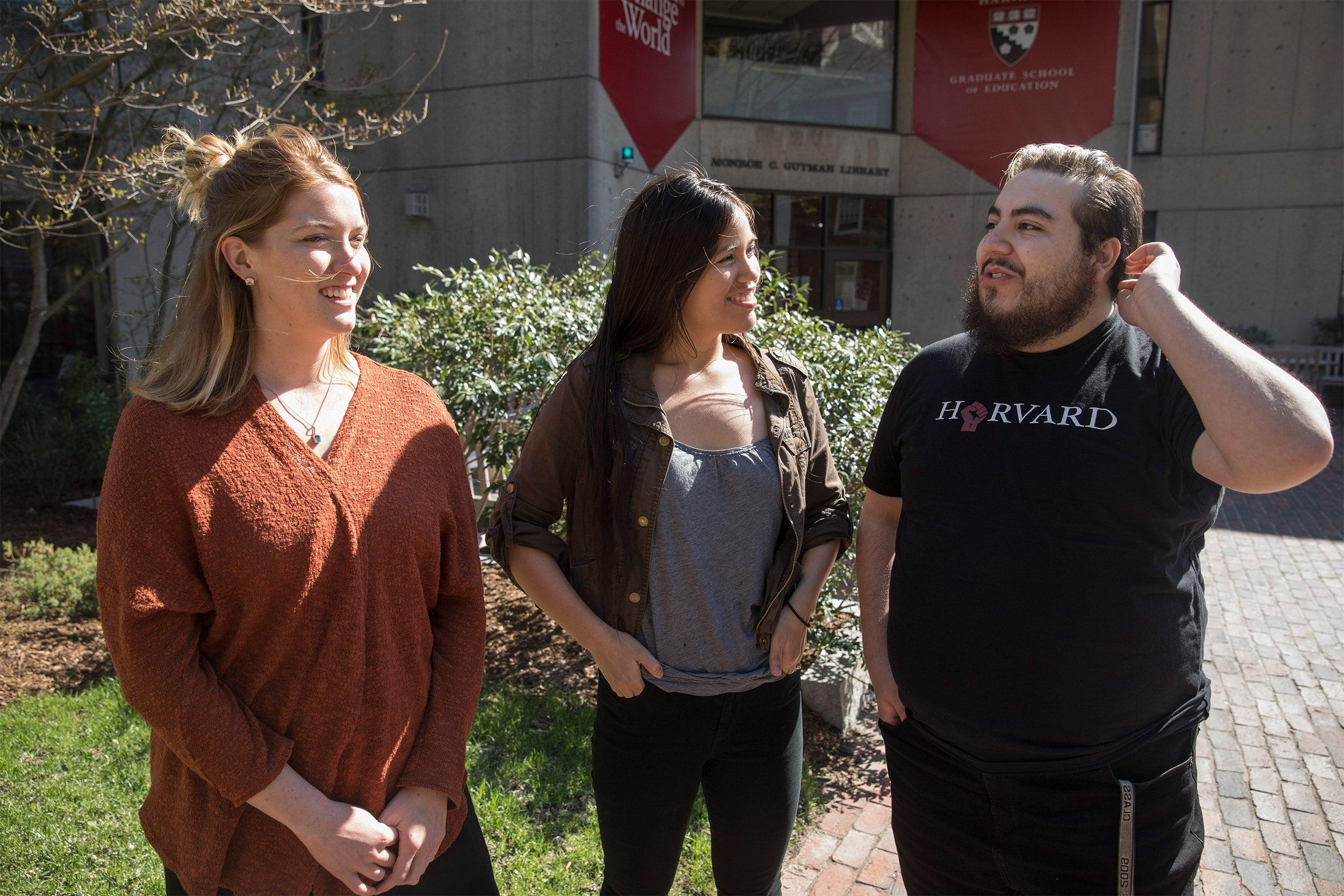 HGSE students, Julia Cunningham, (from left) Morgan Barraza, and Shane Trujillo