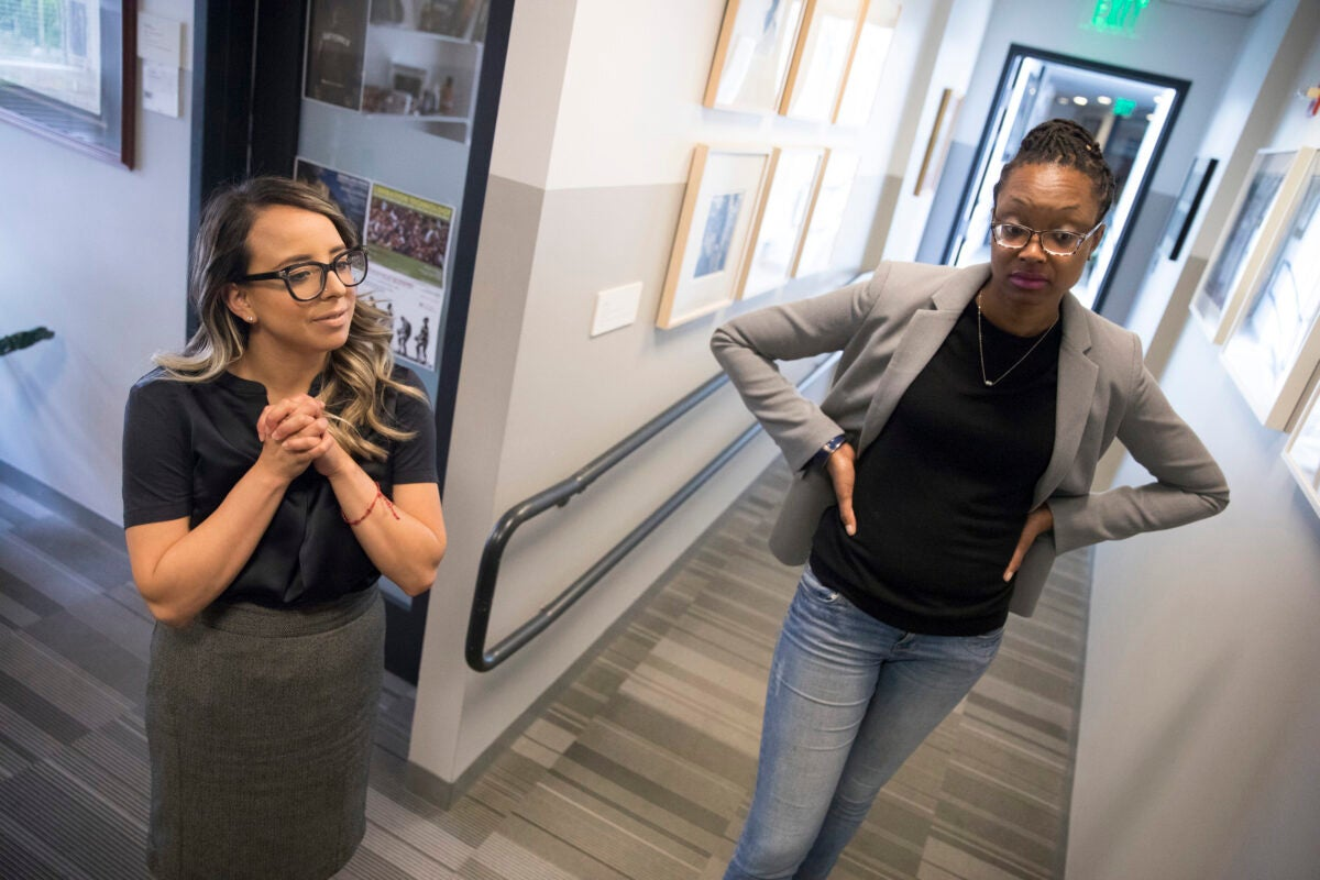 To help local teachers counteract racism in their classrooms, Ed School students Soraya Ramos (left) and Cassandra St. Vil recently offered up a program on race and equity in education.