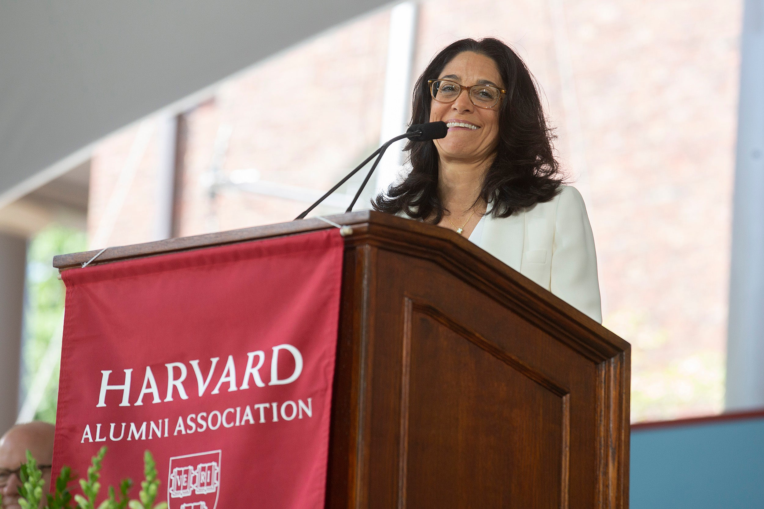 Harvard Alumni Association President Susan Novick '85 at the Afternoon Program. The HAA holds its annual meeting following the University's Commencement.