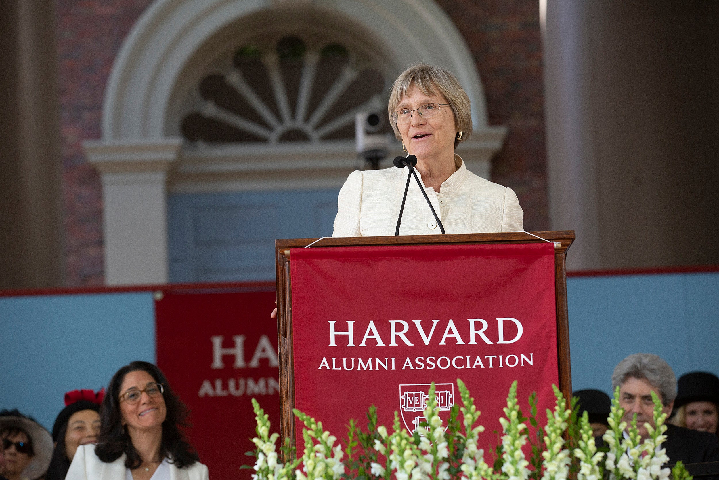 Drew Faust delivers final commencement address.
