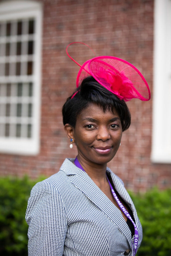 Theresa Lungu shows off her elaborate hat.