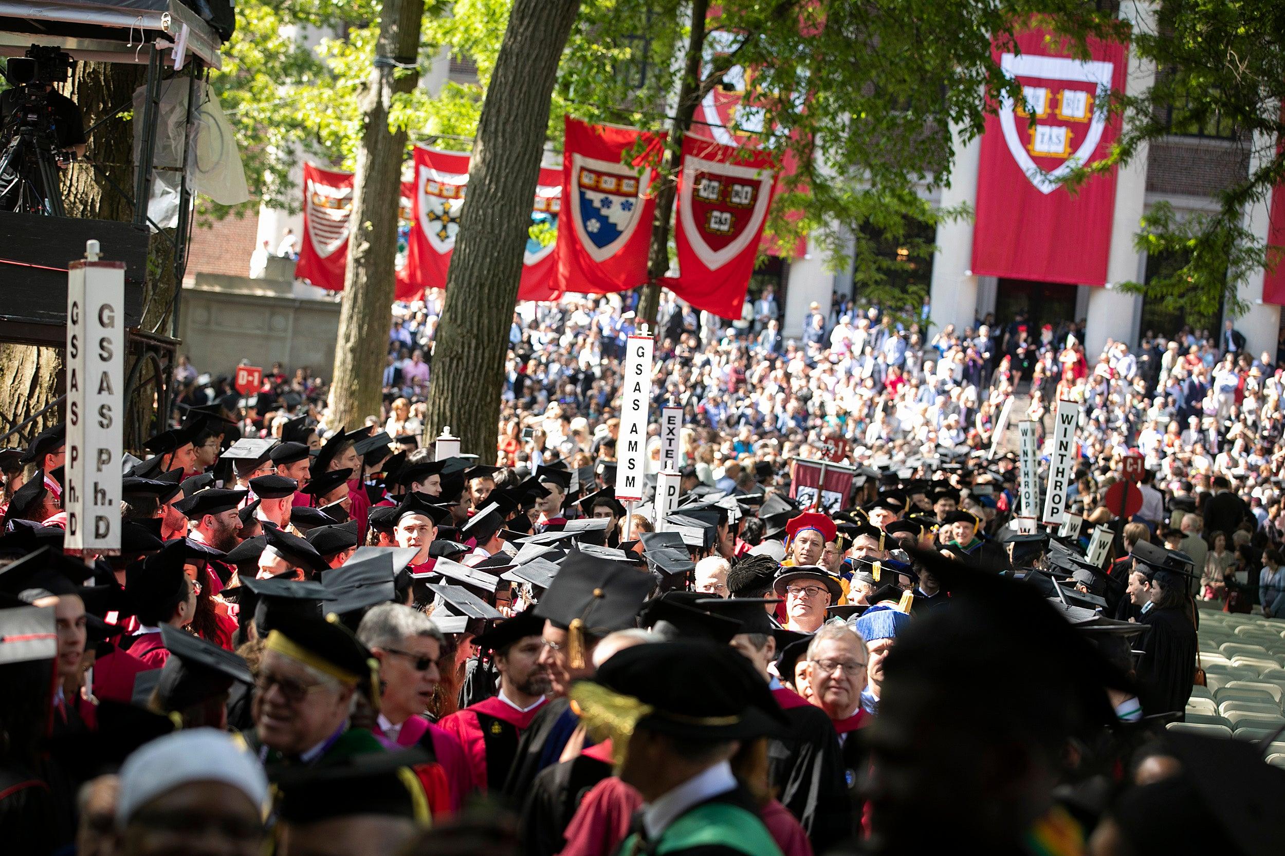 Sea of graduates in Harvard Yard.